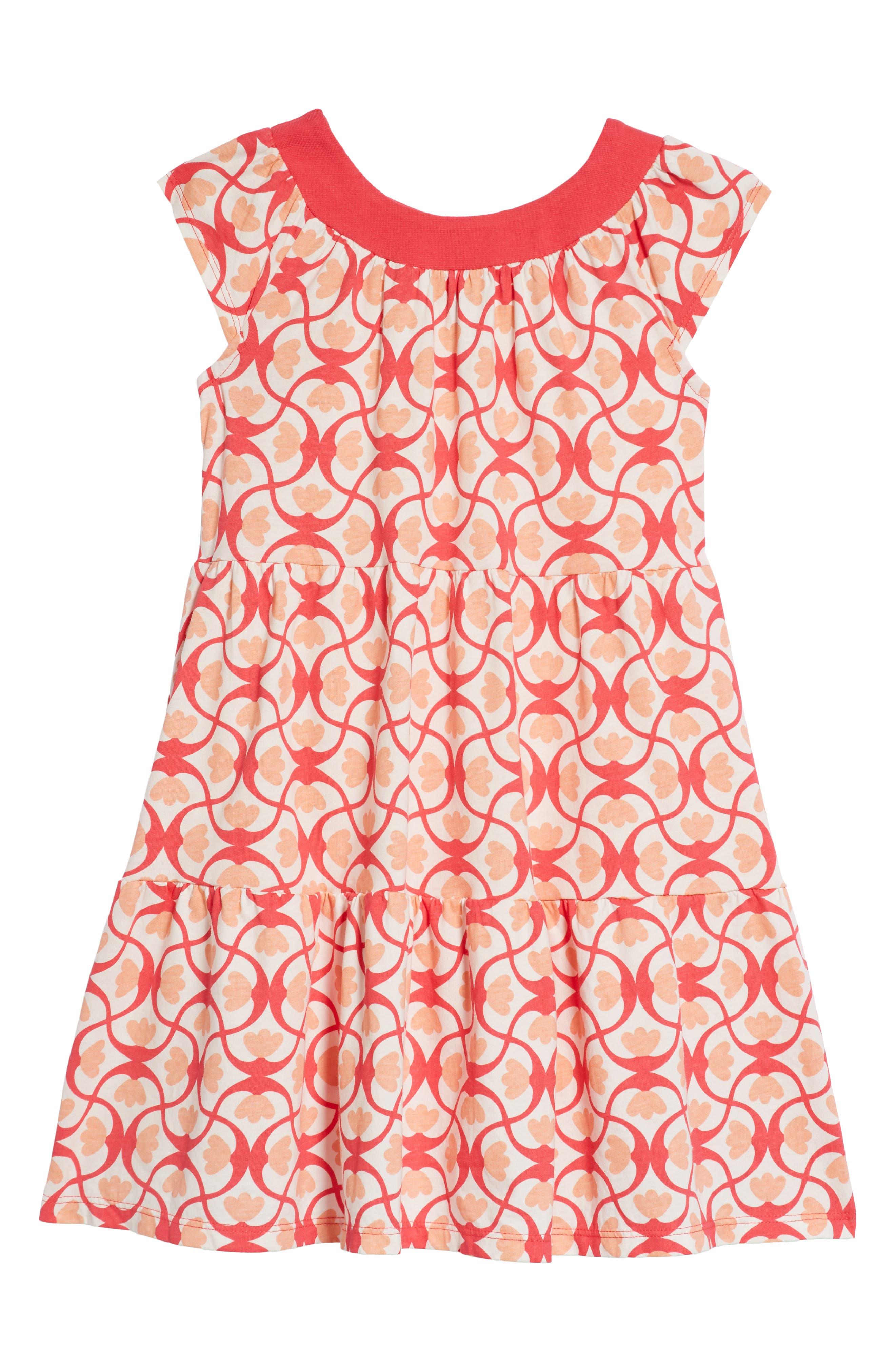 Tile Print Twirl Dress,                             Main thumbnail 1, color,                             Candy Apple Wave Tile