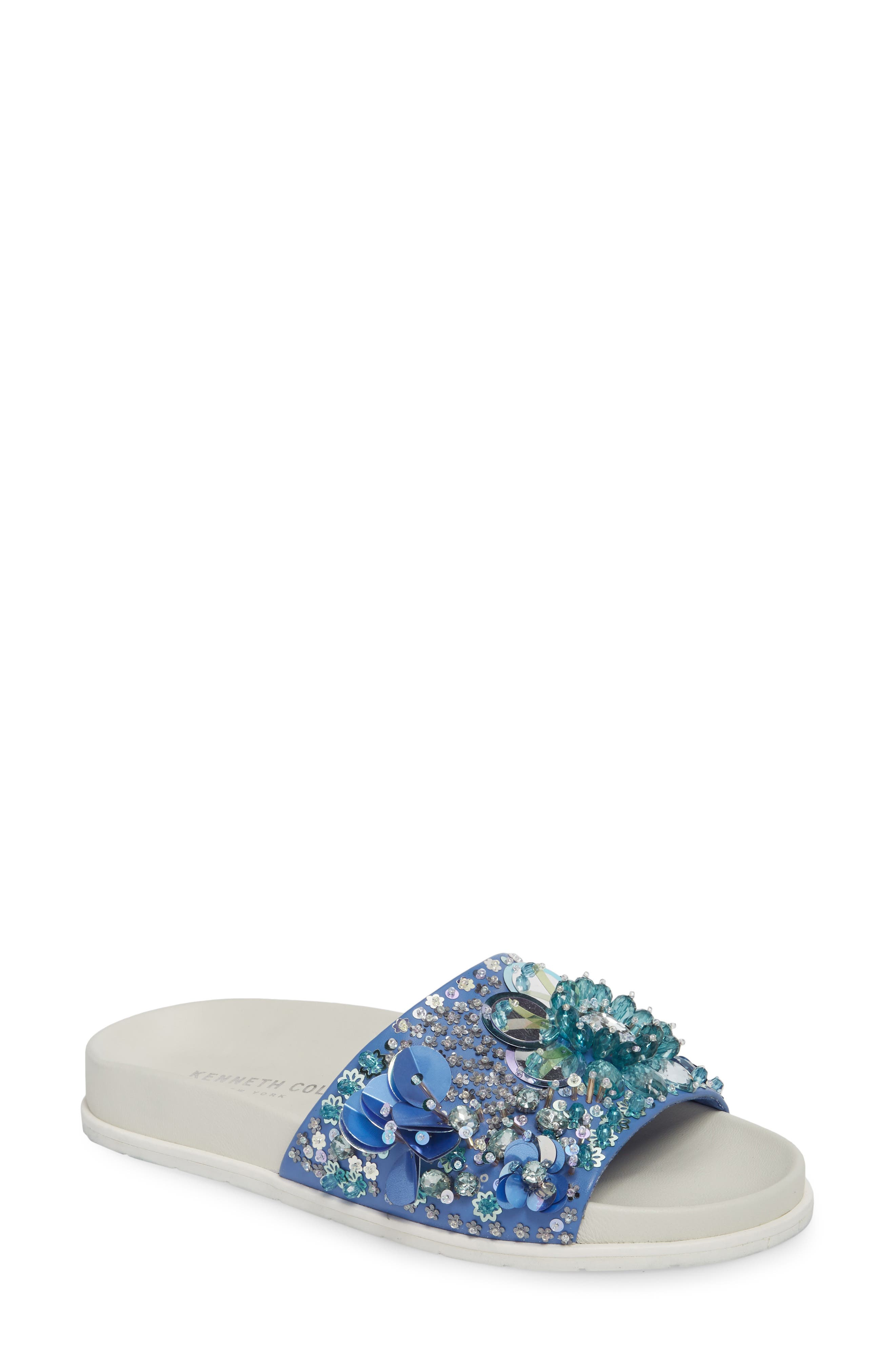Xenia Sequin Embellished Sandal,                         Main,                         color, Blue Multi Fabric