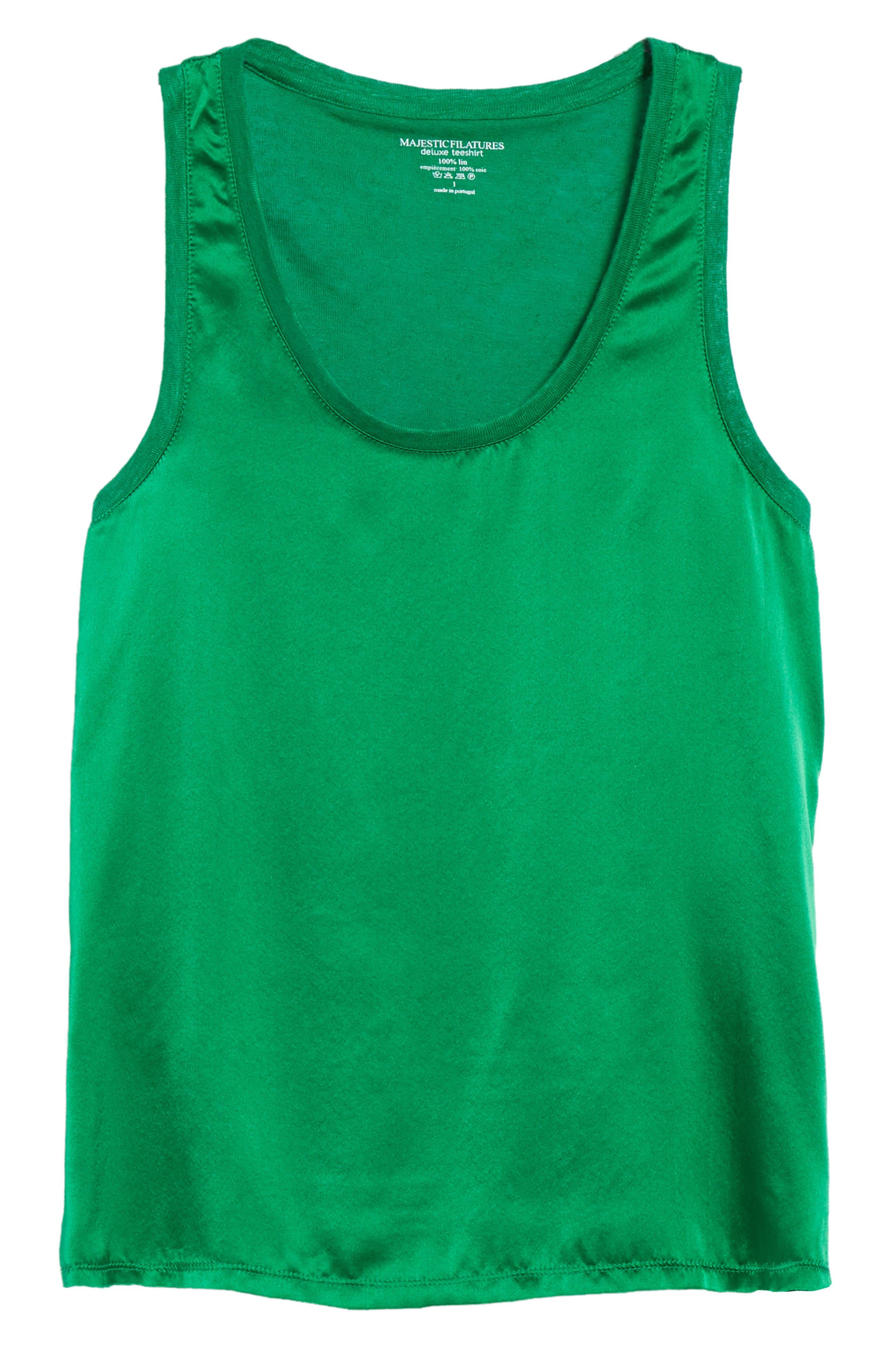 Silk & Linen Tank,                             Alternate thumbnail 7, color,                             Green