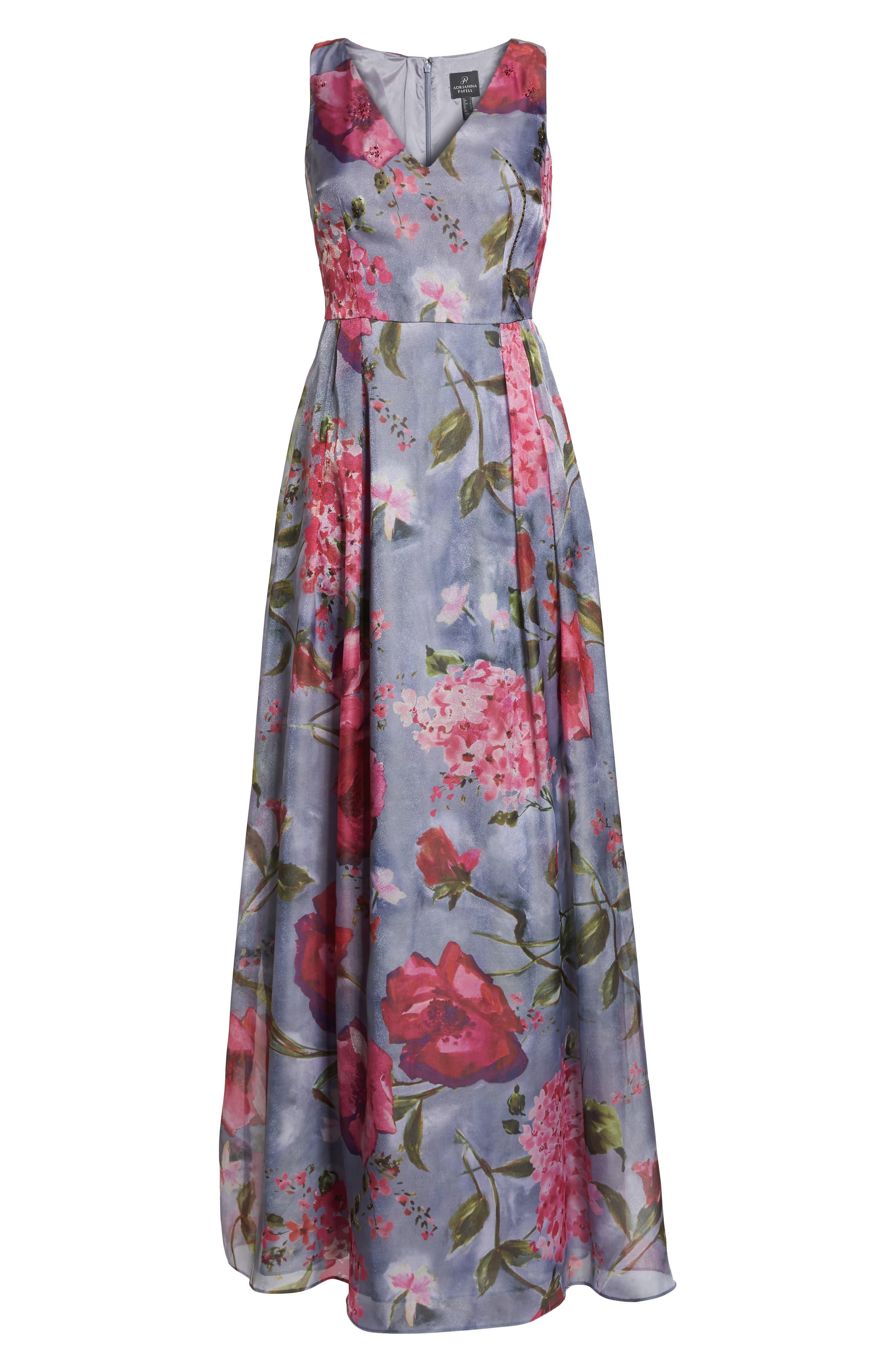 Flower Print Organza Gown,                             Alternate thumbnail 6, color,                             Dove Grey Multi