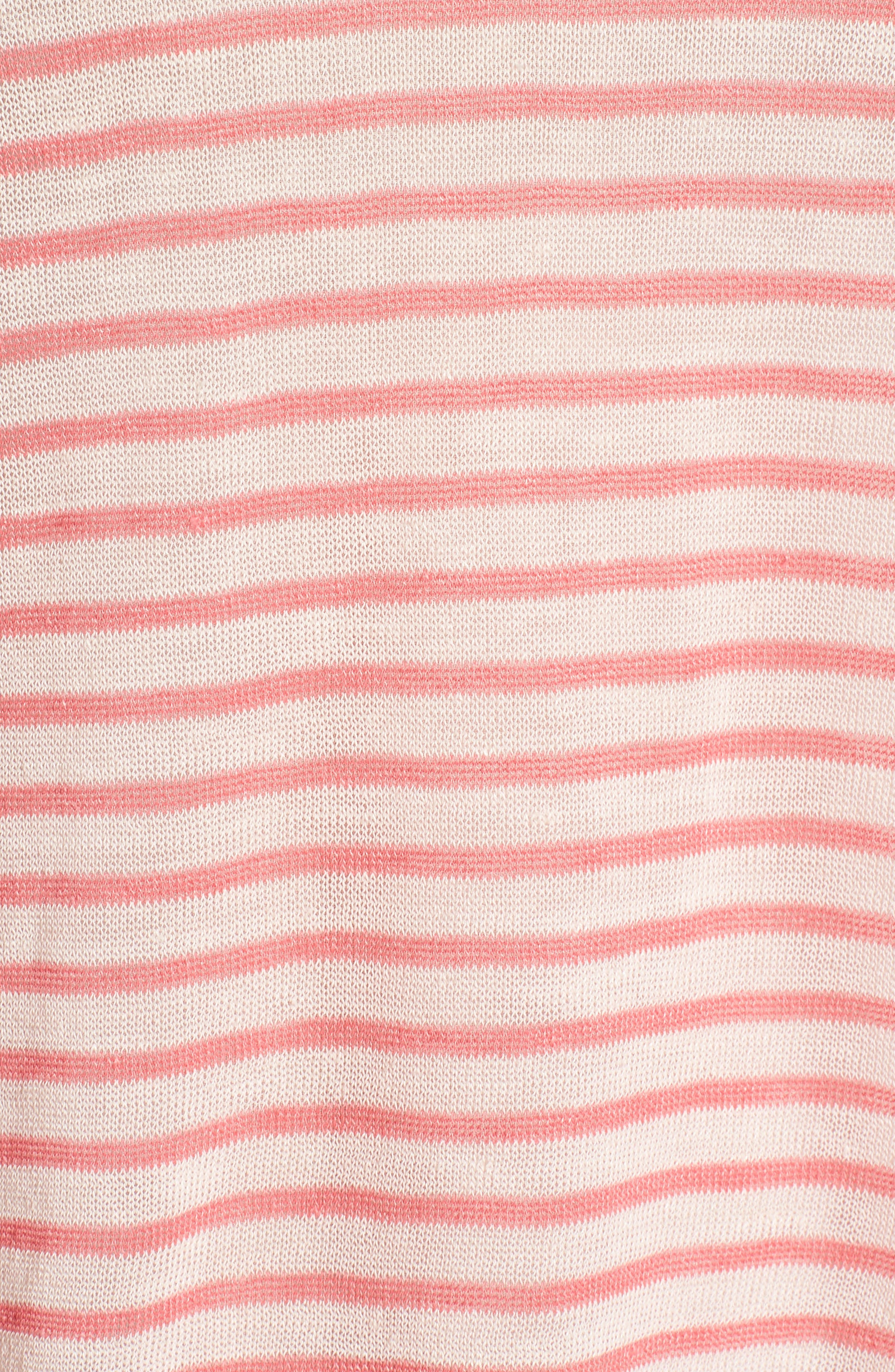Stripe Linen Blend Sweater,                             Alternate thumbnail 6, color,                             Pink Peony- Coral Rose Stripe