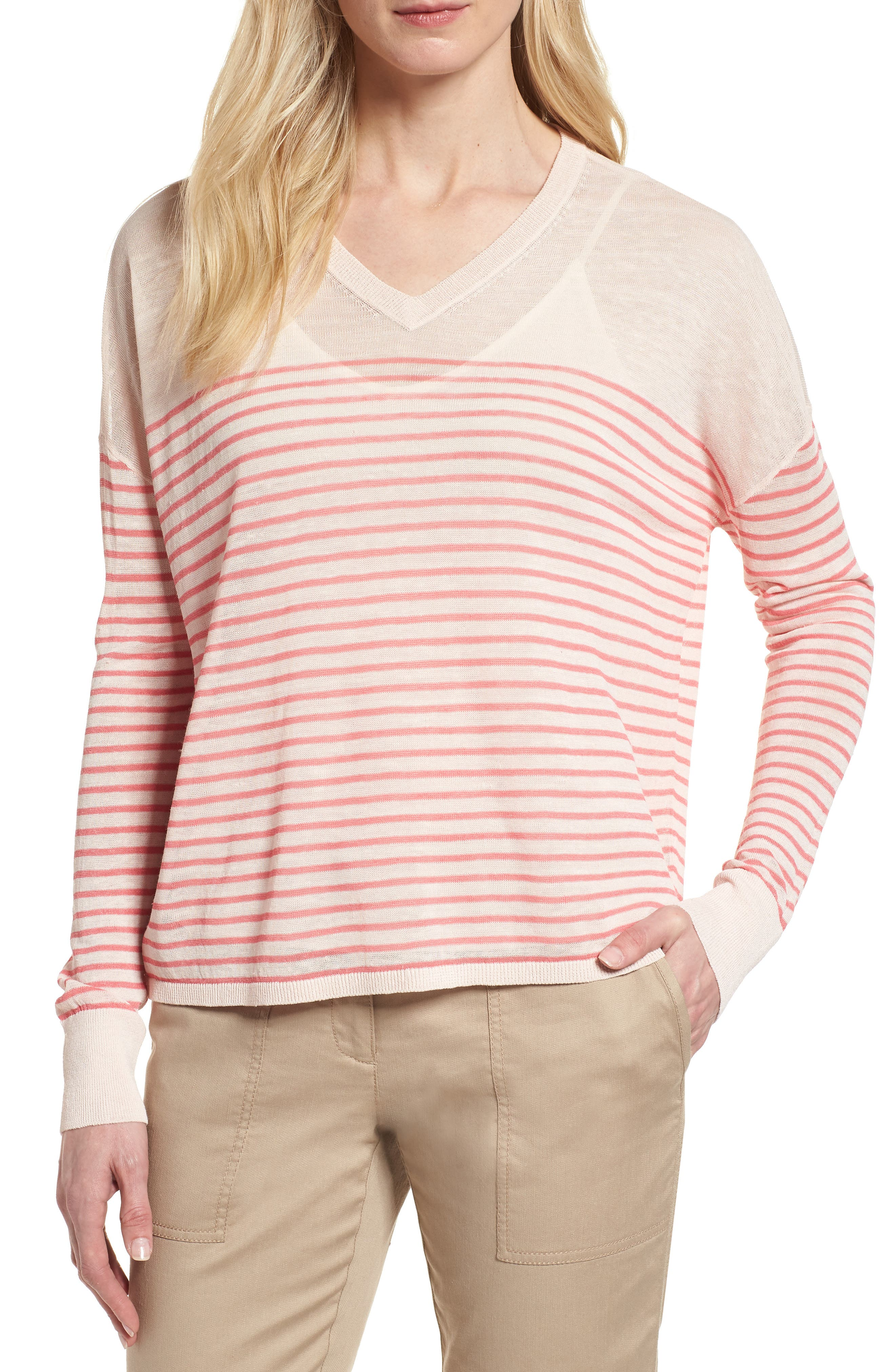 Stripe Linen Blend Sweater,                             Main thumbnail 1, color,                             Pink Peony- Coral Rose Stripe