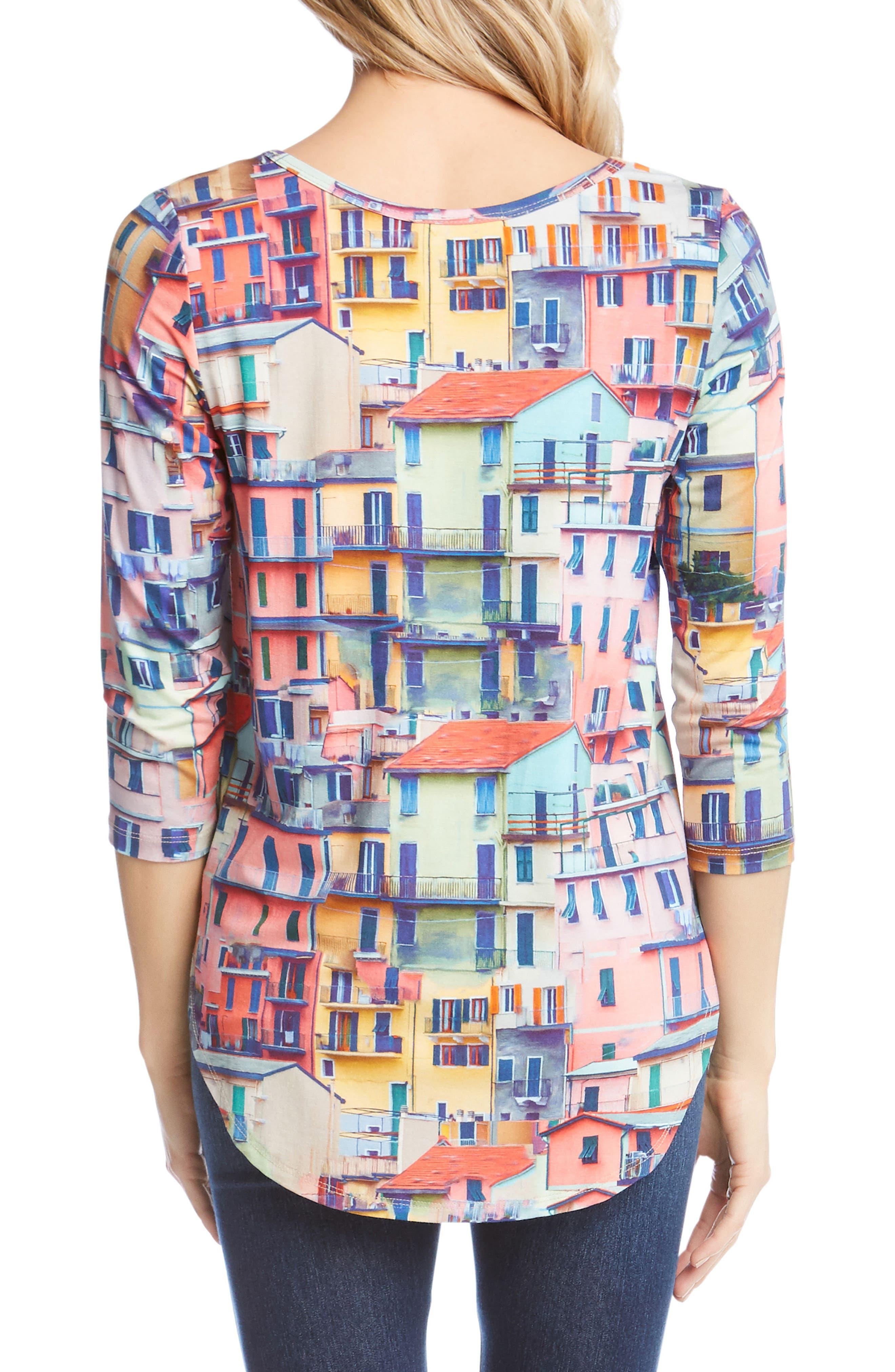 Rainbow Rooftops Three-Quarter Sleeve Tee,                             Alternate thumbnail 2, color,                             Print