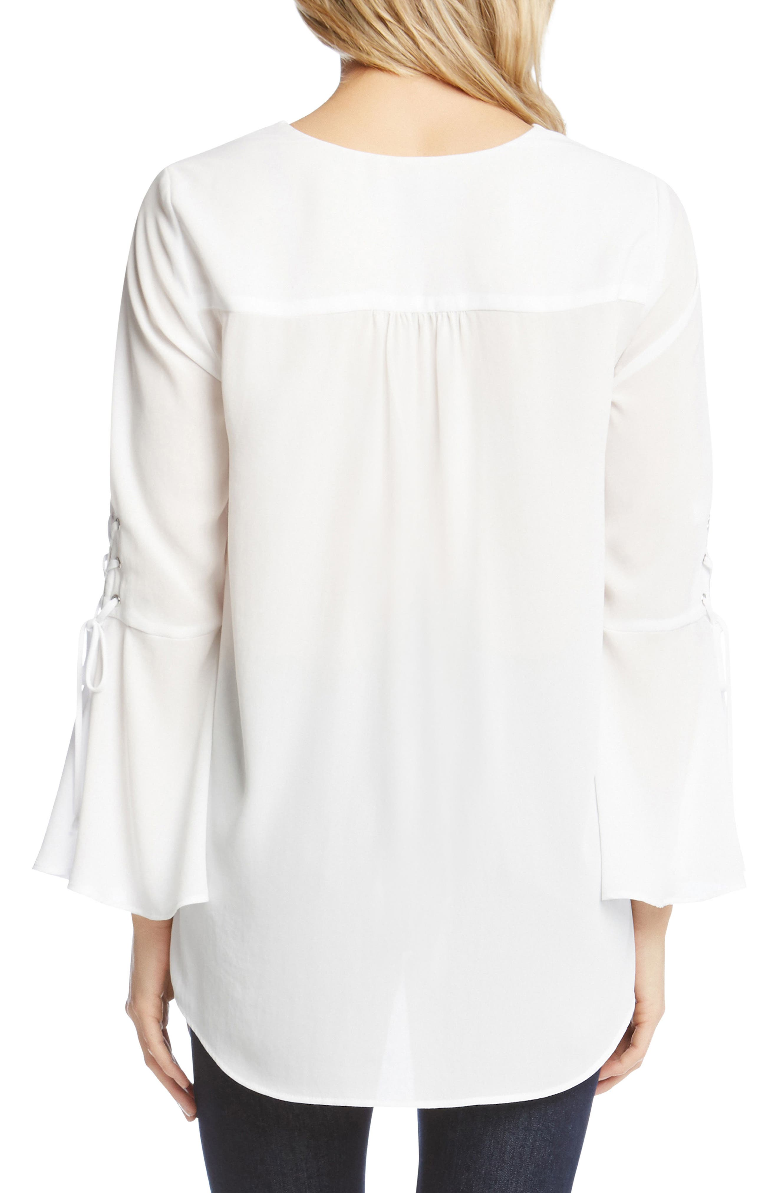 Split Front Tie-Sleeve Top,                             Alternate thumbnail 2, color,                             Off White