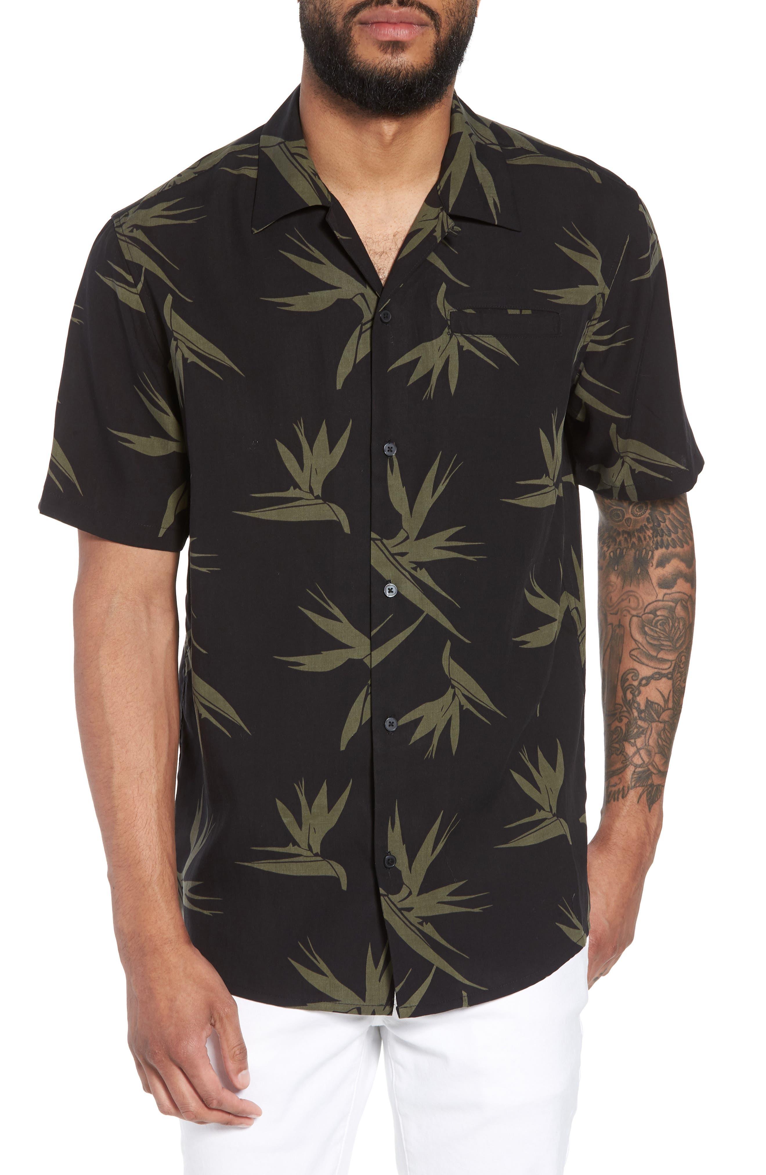 Hudson Regular Fit Print Short Sleeve Sport Shirt,                             Main thumbnail 1, color,                             Birds Of Paradise Black