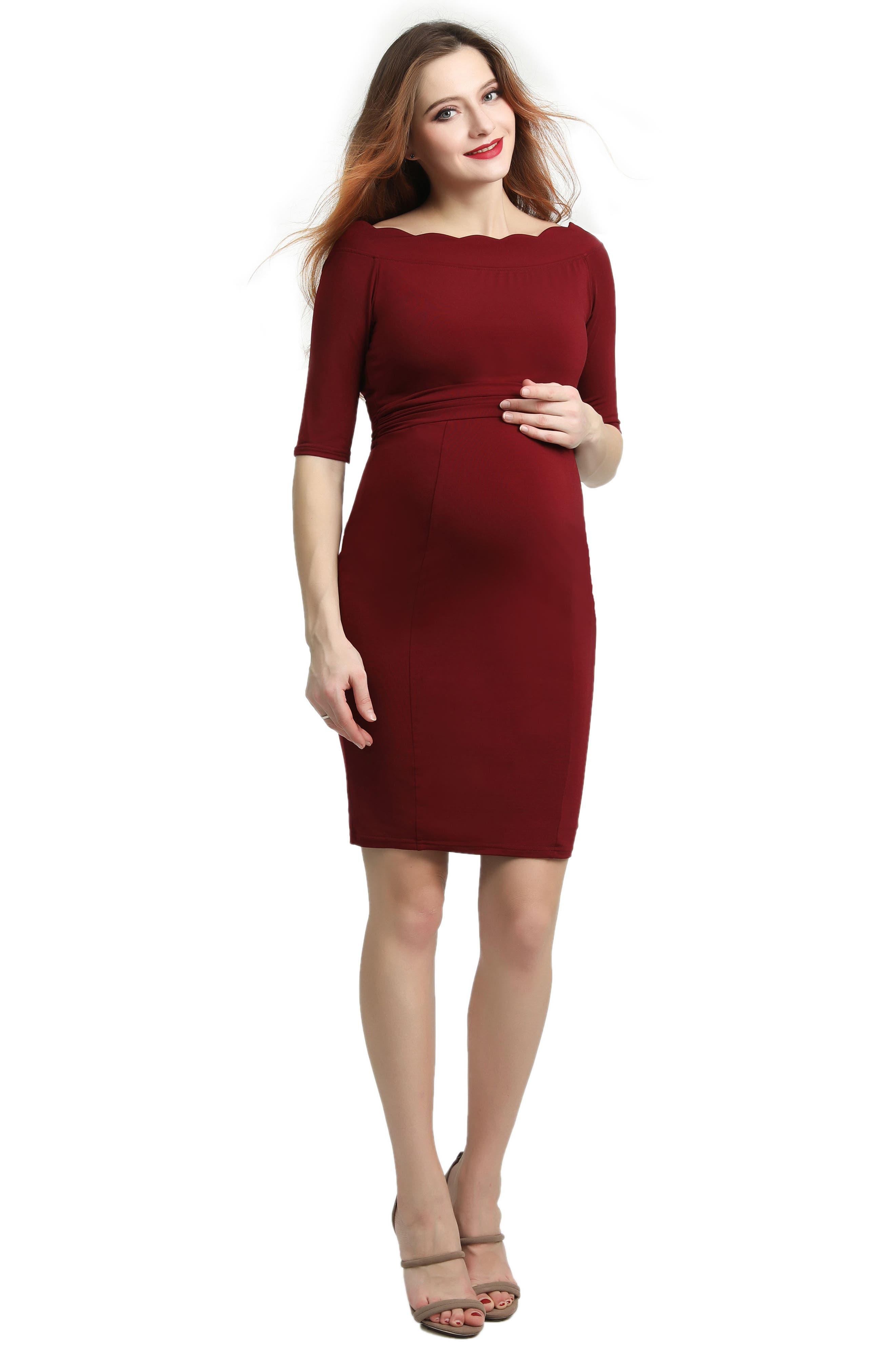 Kendall Scallop Trim Body-Con Maternity Dress,                             Alternate thumbnail 5, color,