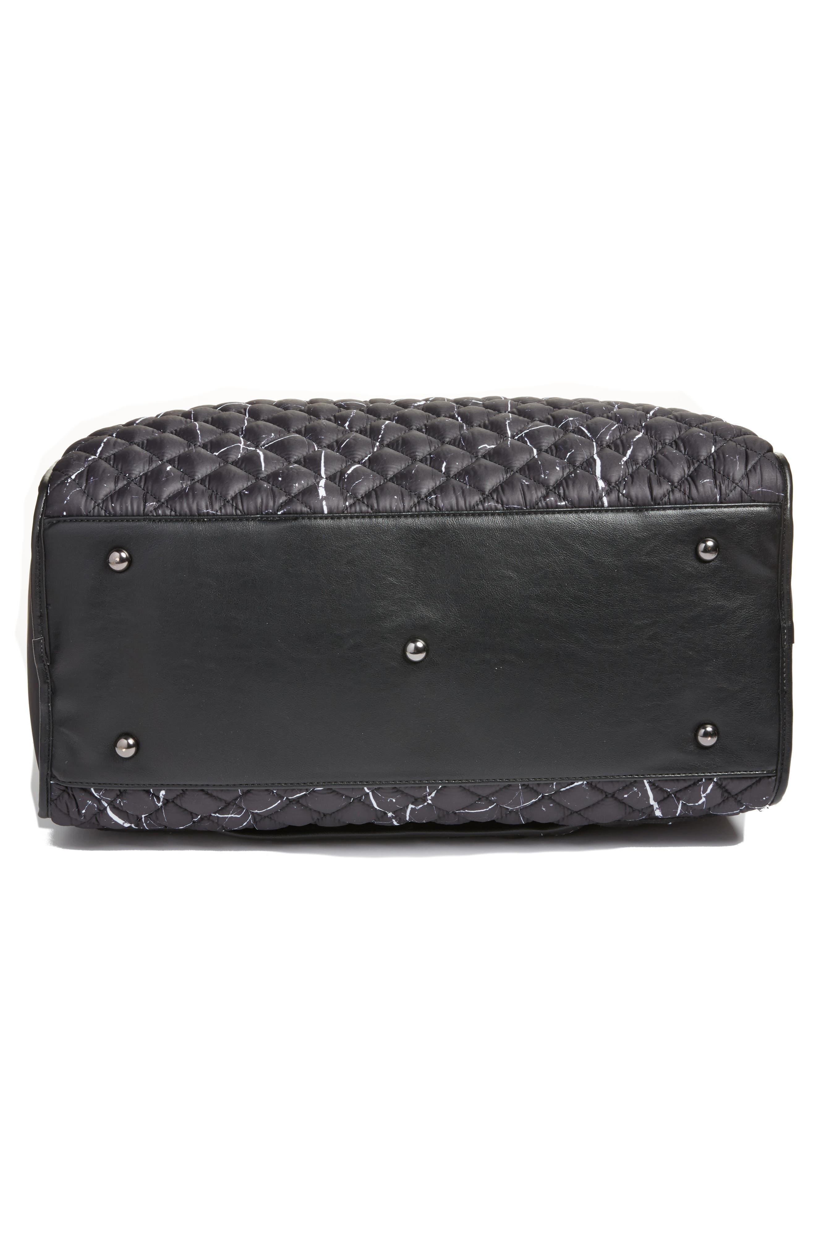Mara Quilted Duffel Bag,                             Alternate thumbnail 6, color,                             Black Marble