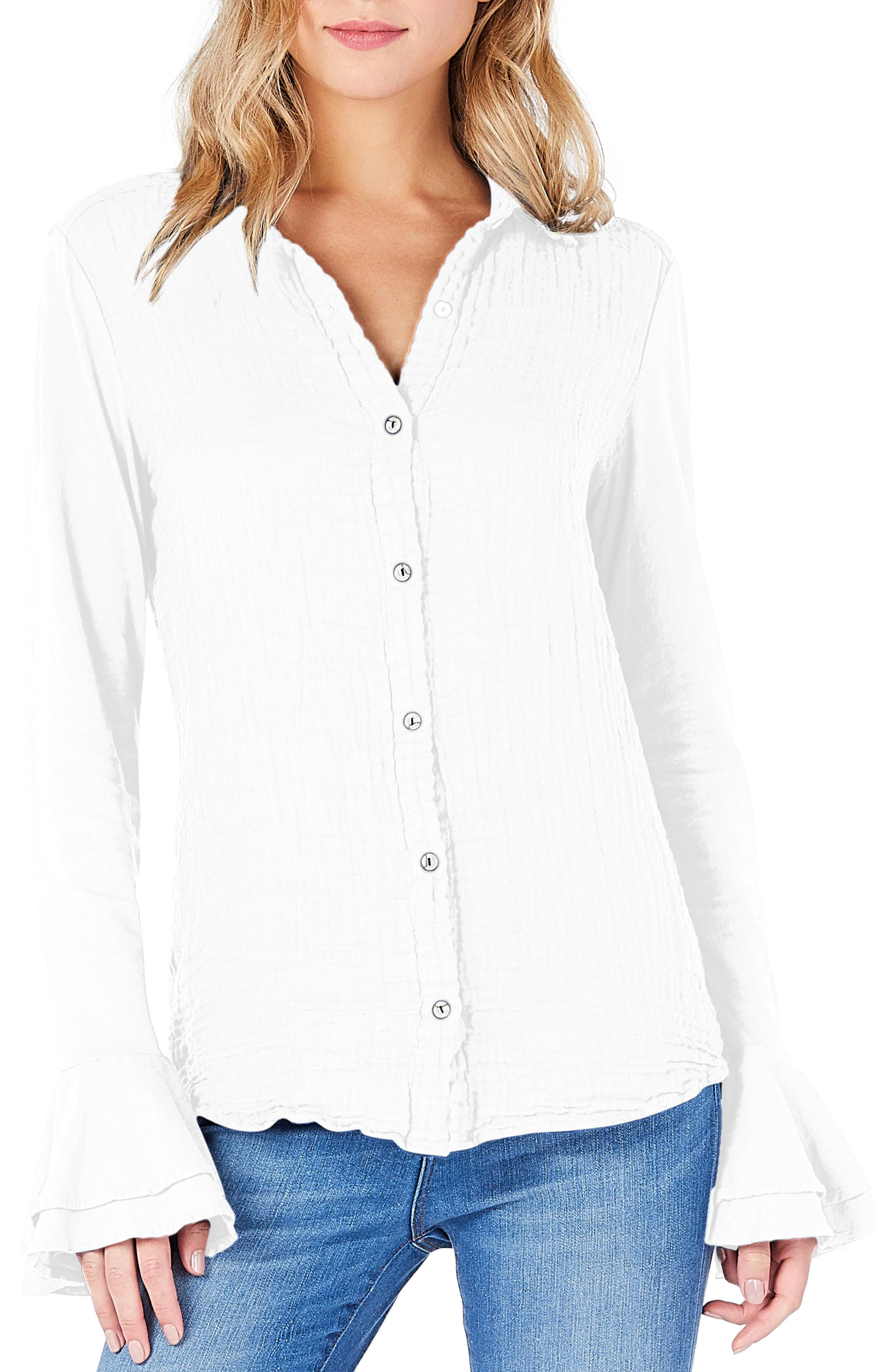 Ruffle Sleeve Shirt,                         Main,                         color, White