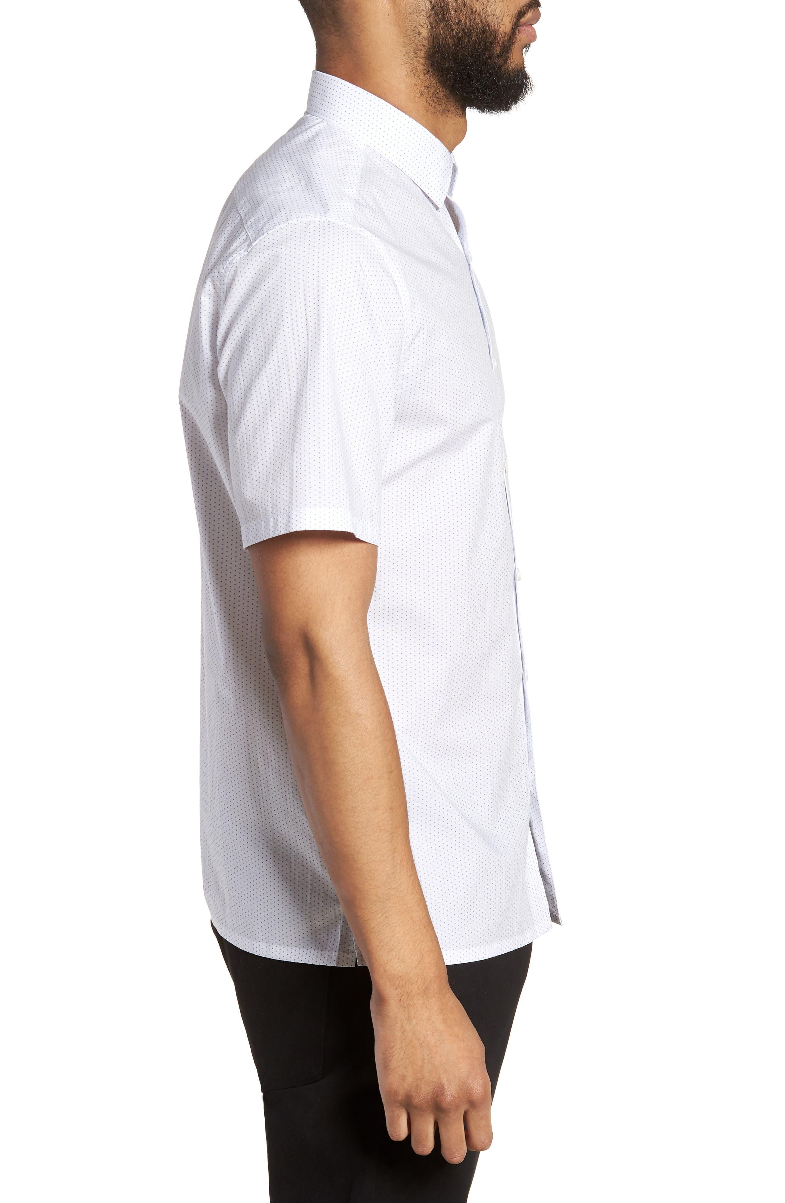 Murrary Trim Fit Dot Short Sleeve Sport Shirt,                             Alternate thumbnail 4, color,                             White