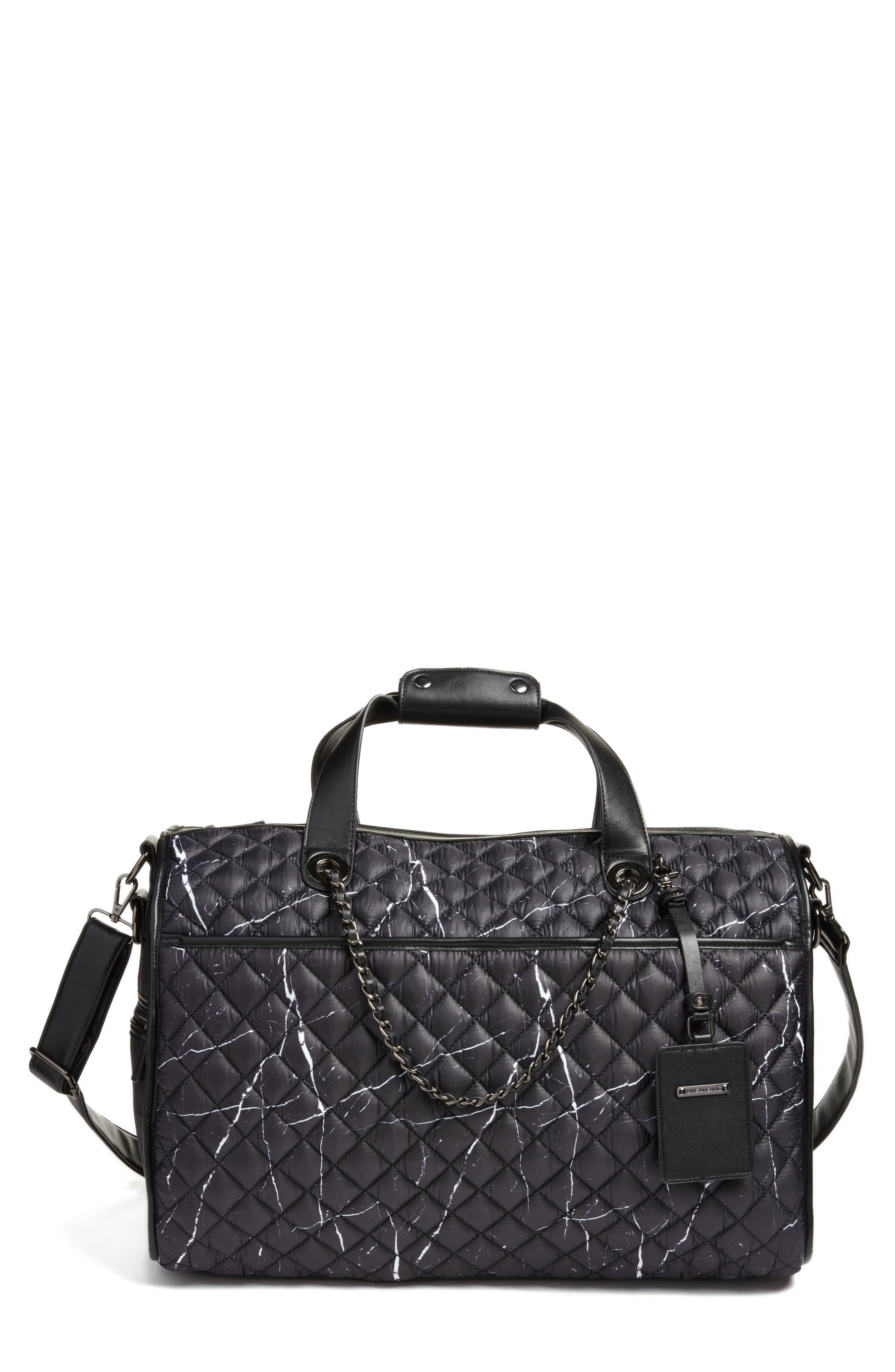 Mara Quilted Duffel Bag,                         Main,                         color, Black Marble