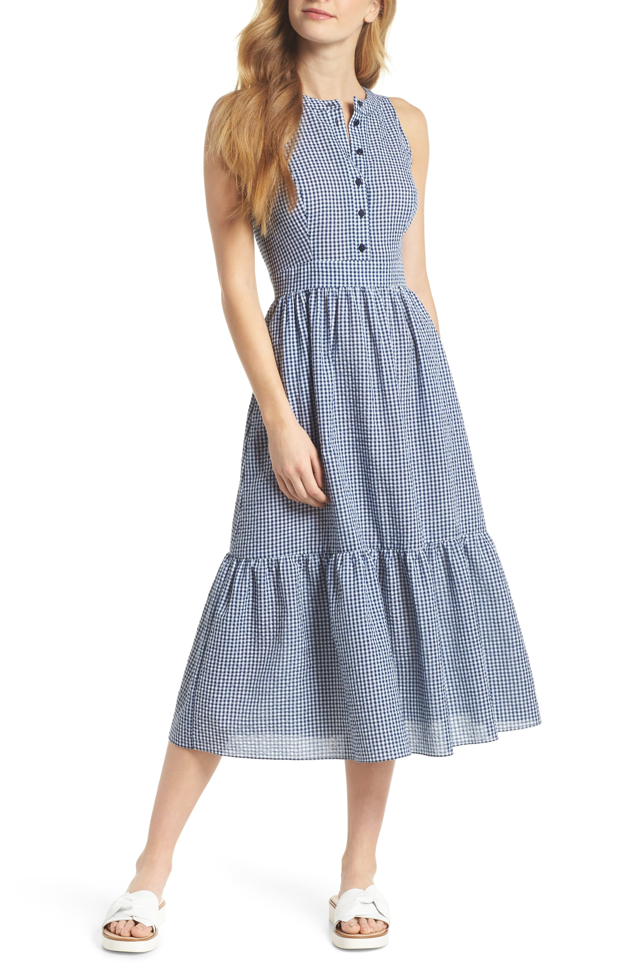 Ardith Gingham Fit & Flare Midi Dress,                             Main thumbnail 1, color,                             Blue/ White