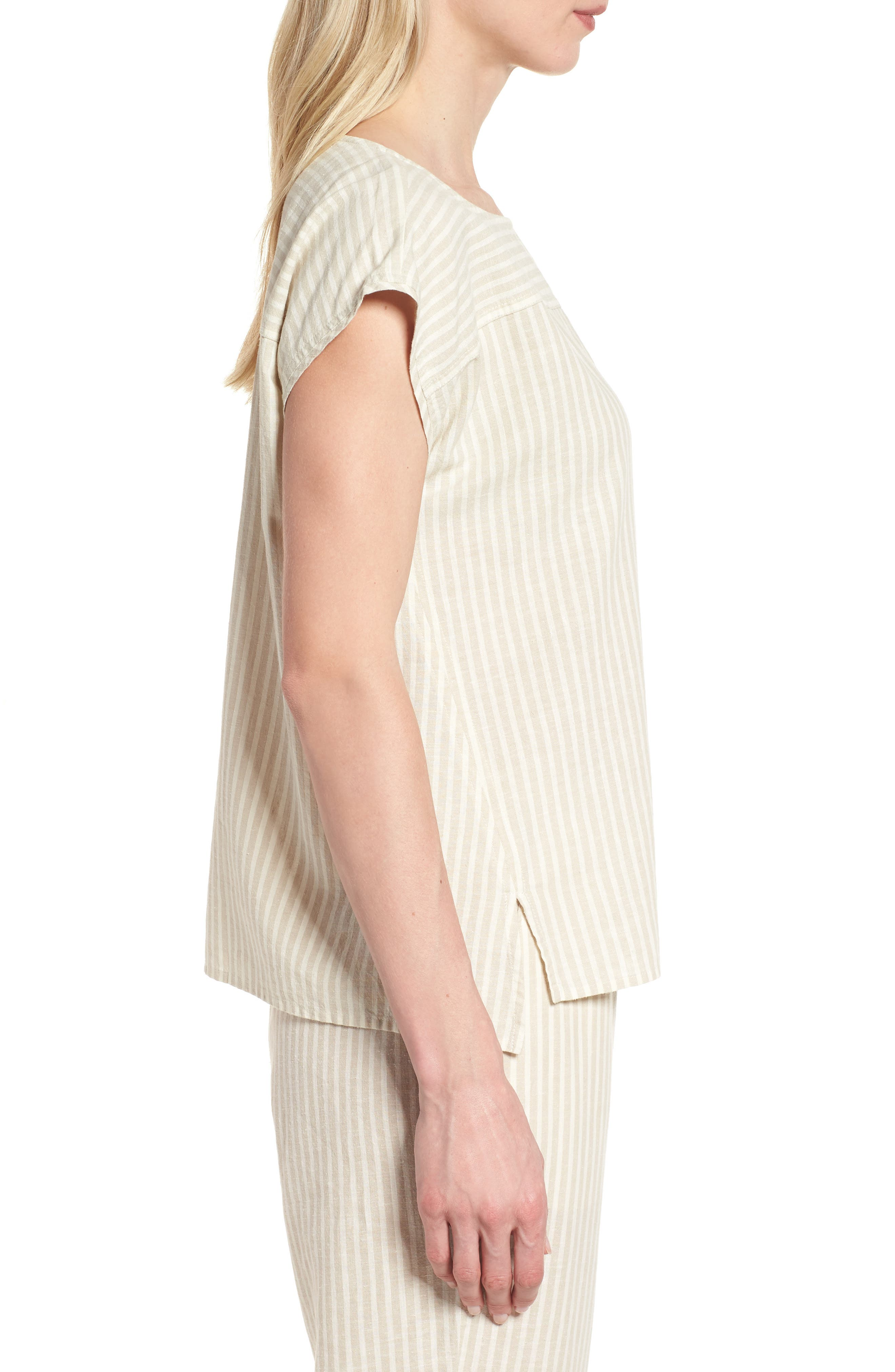 Stripe Hemp & Organic Cotton Swing Top,                             Alternate thumbnail 3, color,                             Natural
