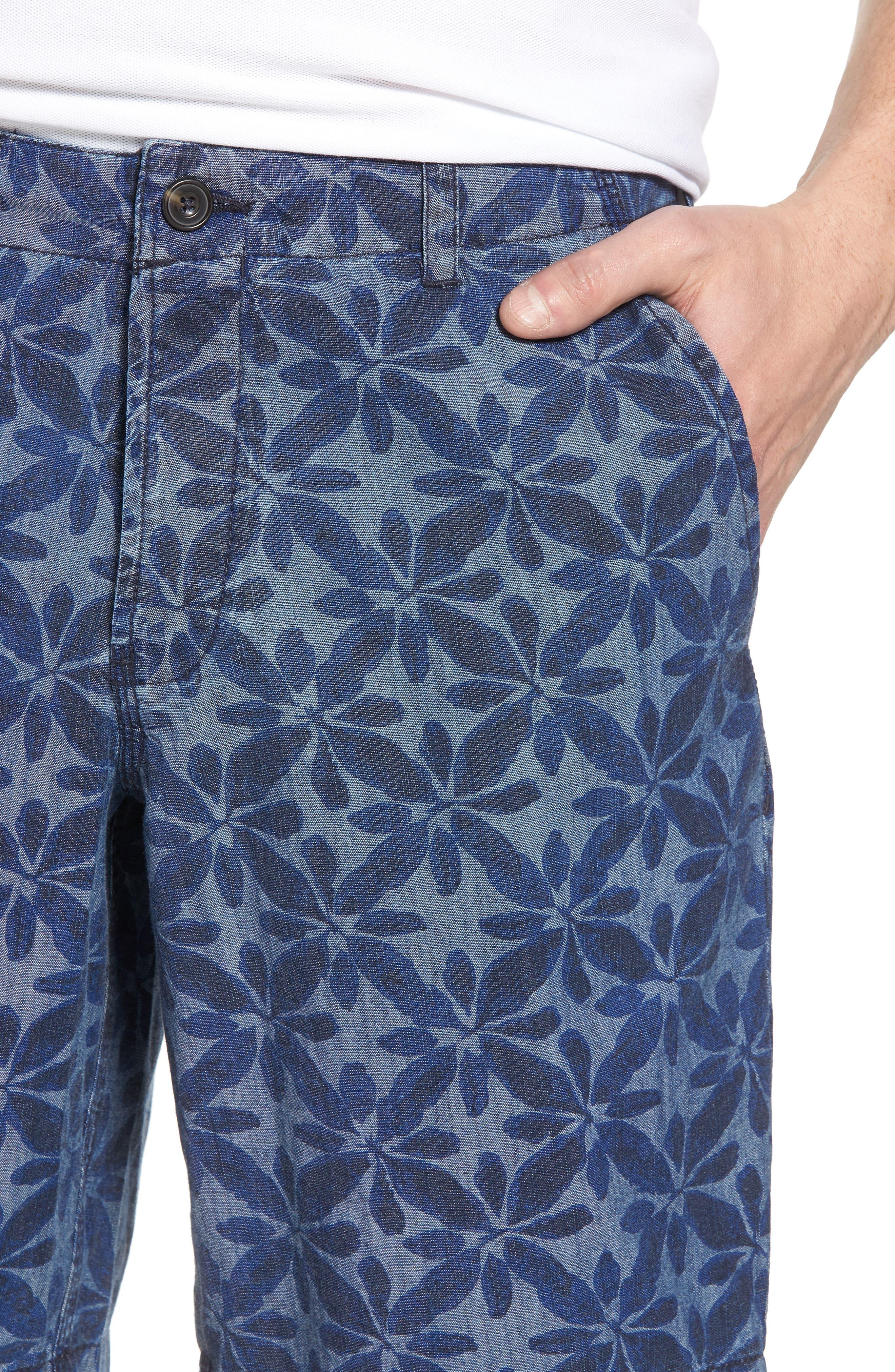 Franju Floral Cotton Shorts,                             Alternate thumbnail 4, color,                             Rinse And Softener