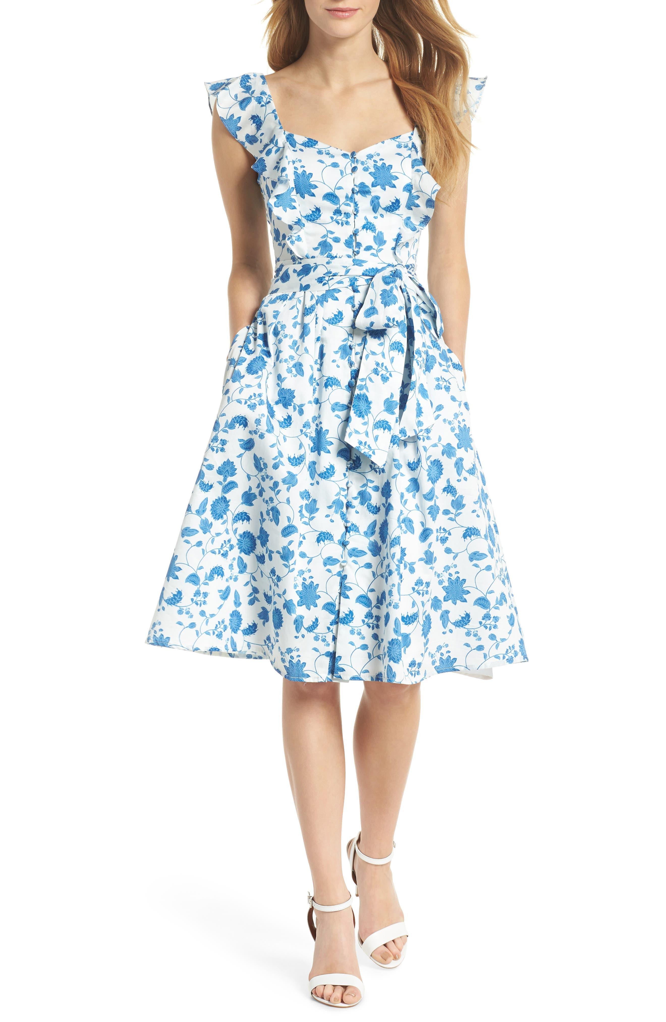 Olivia Floral Wallpaper Print Fit & Flare Dress,                         Main,                         color, Cloud/ Blue