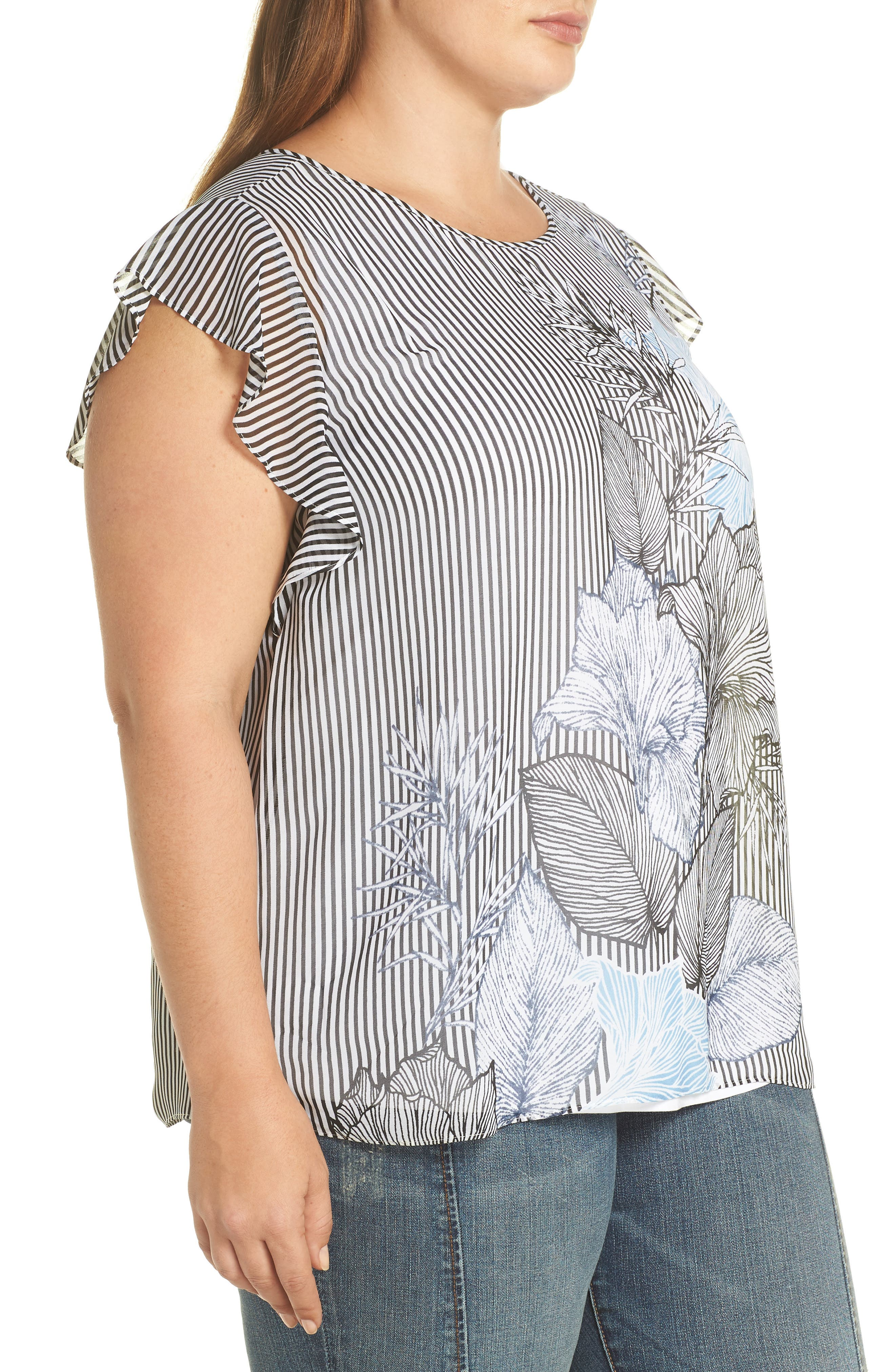 Flutter Sleeve Etched Floral Stripe Top,                             Alternate thumbnail 3, color,                             Rich Black