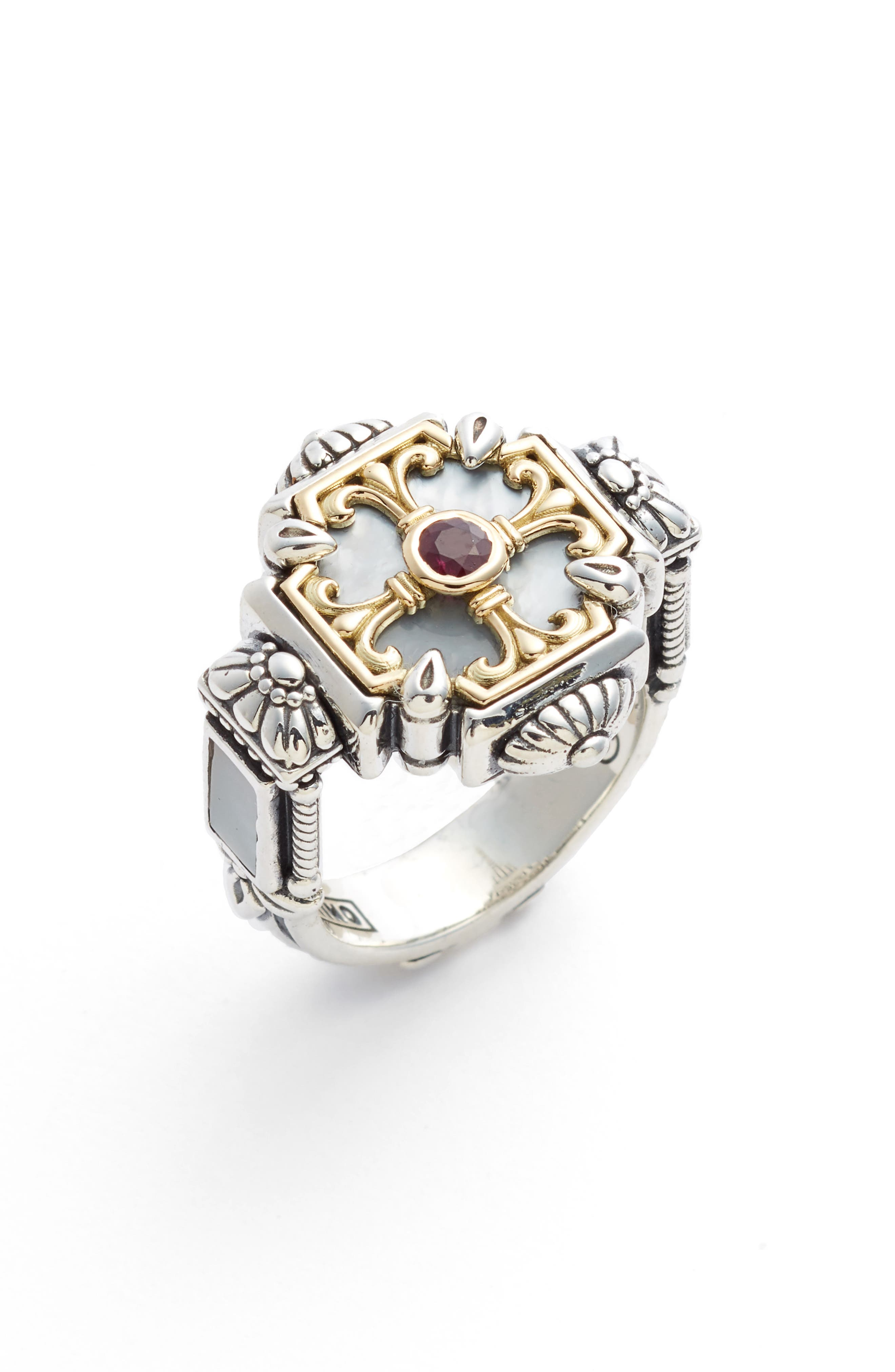 Sterling Silver & Ruby Ring,                             Main thumbnail 1, color,                             Silver/ Gold/ White