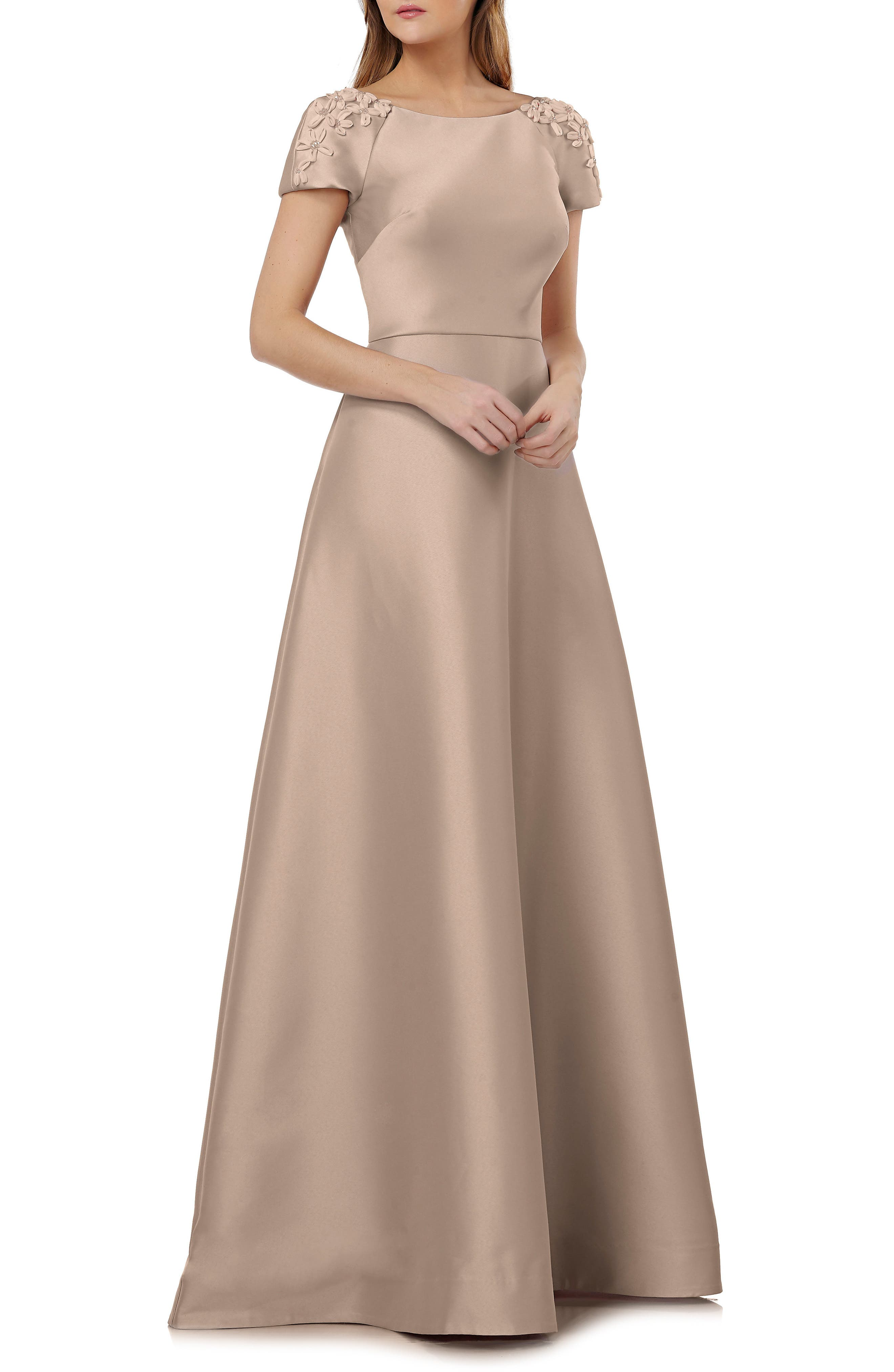 Embellished Sleeve Stretch Mikado Gown,                             Main thumbnail 1, color,                             Champagne