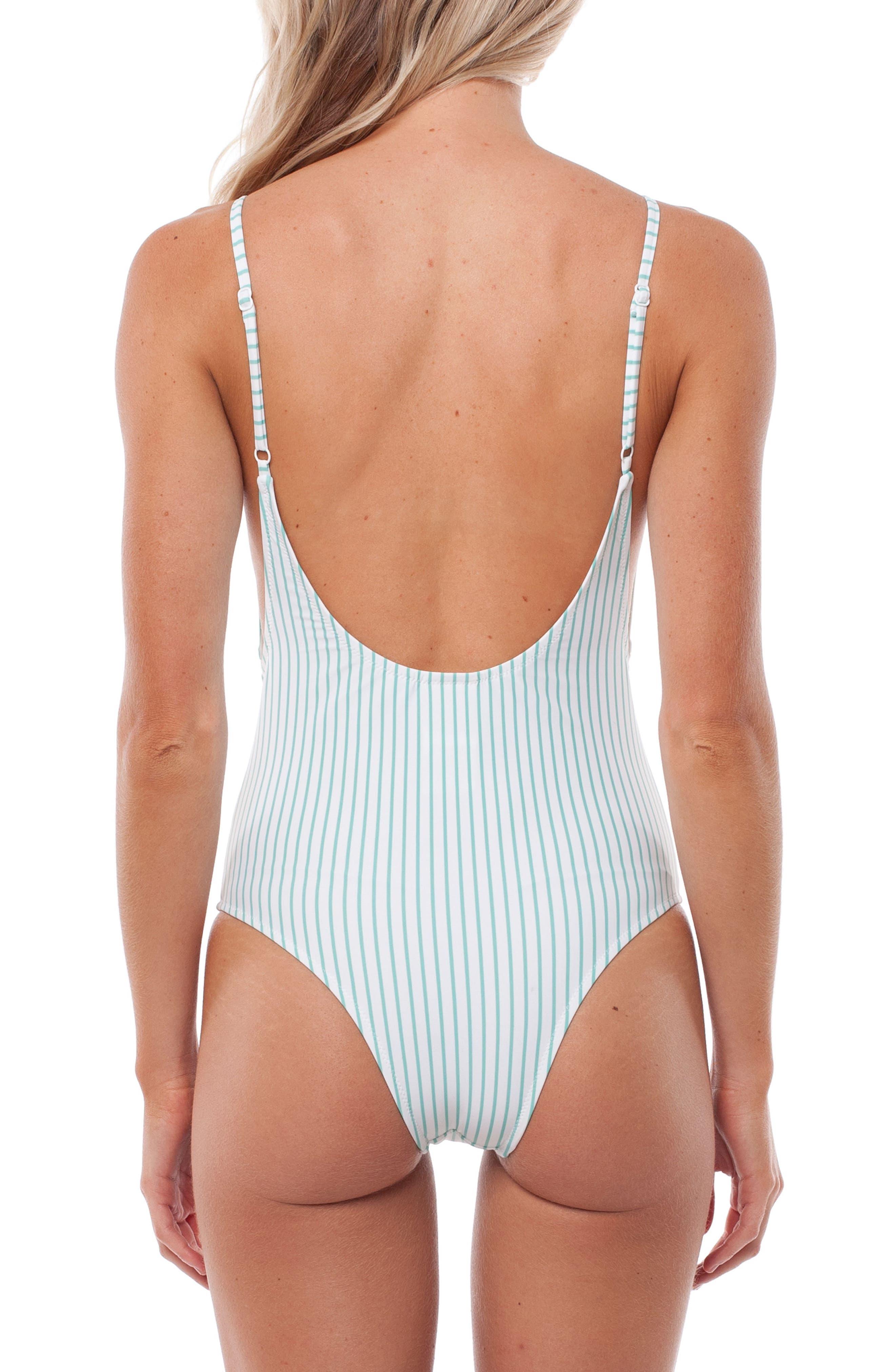 Summer Stripe One-Piece Swimsuit,                             Alternate thumbnail 2, color,                             Aruba