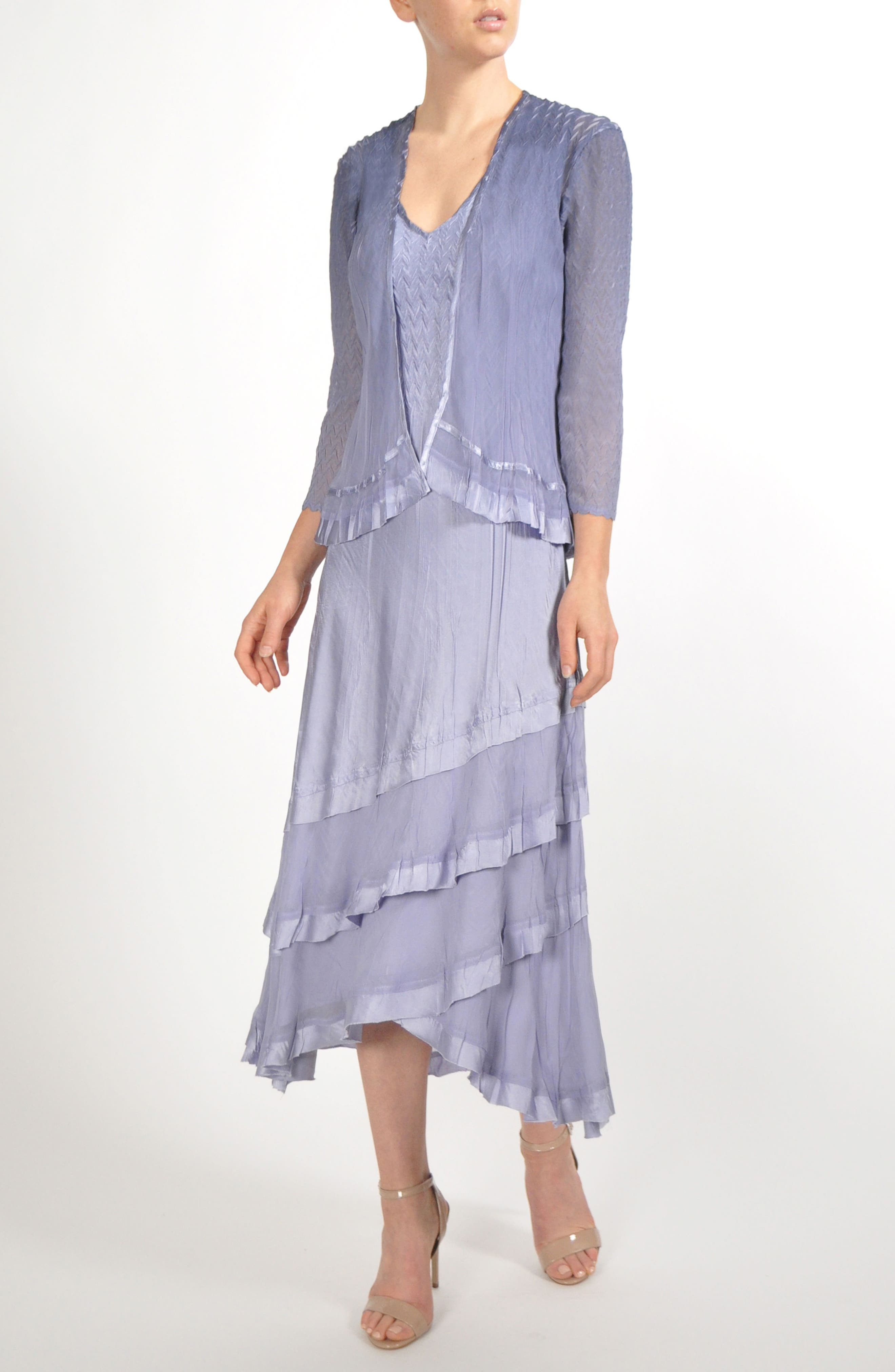 Charmeuse & Chiffon Tiered Hem Dress with Jacket,                         Main,                         color, Lavender Grey Blue Ombre