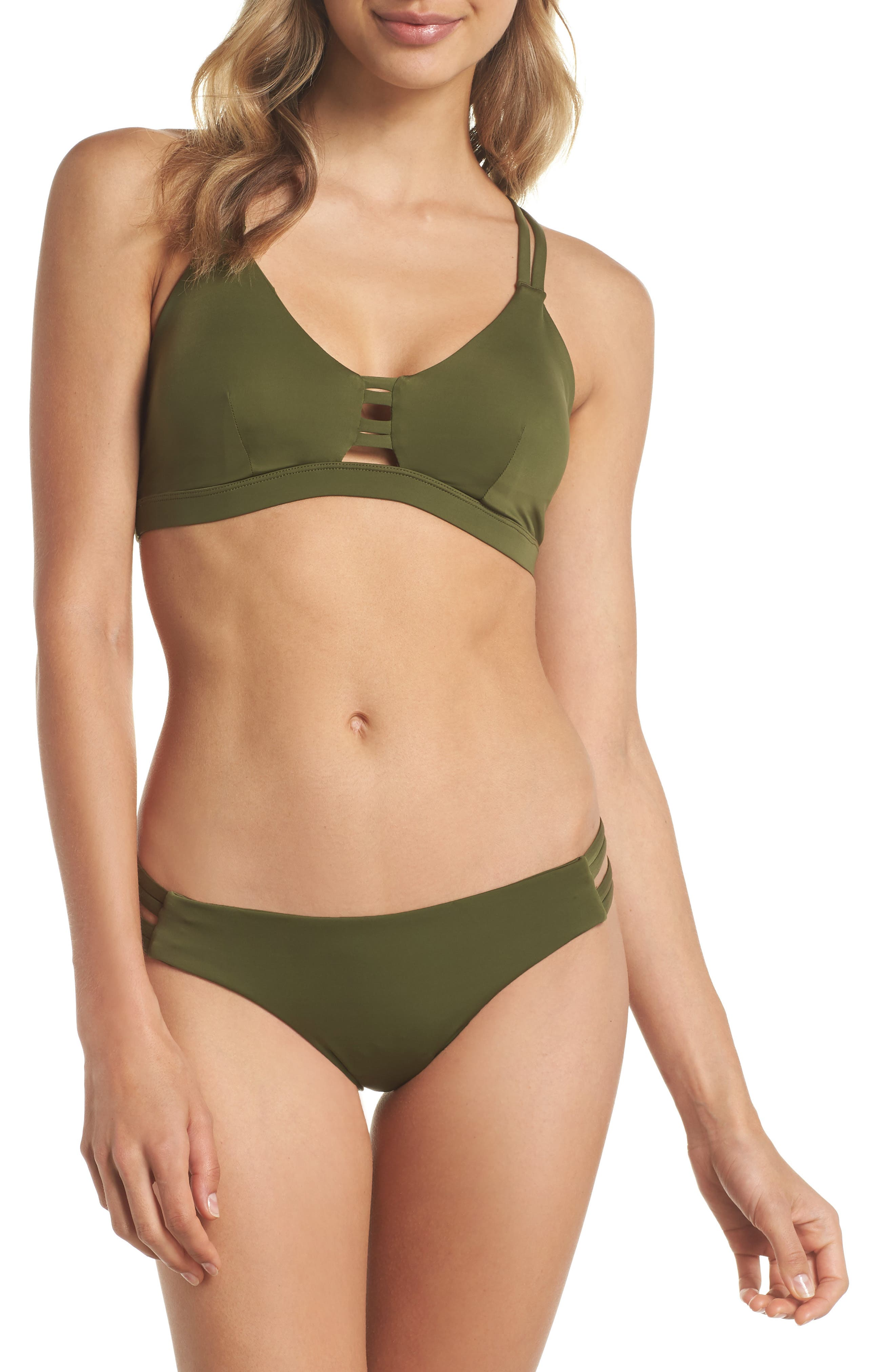 Quick Dry Max Surf Bikini Bottoms,                             Alternate thumbnail 5, color,                             Olive Canvas