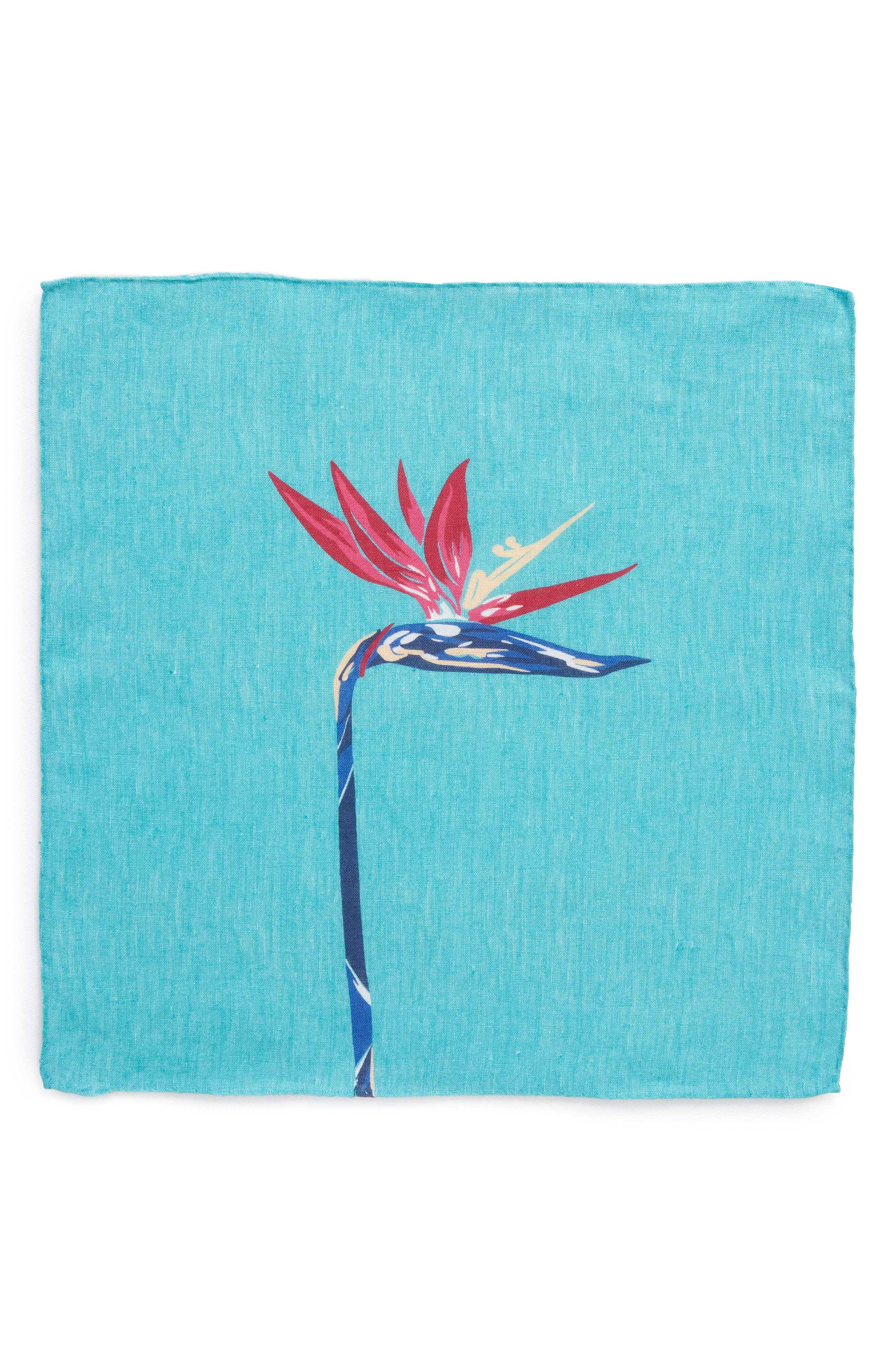 Birds of Paradise Floral Linen Pocket Square,                             Alternate thumbnail 3, color,                             Pappagallo Teal