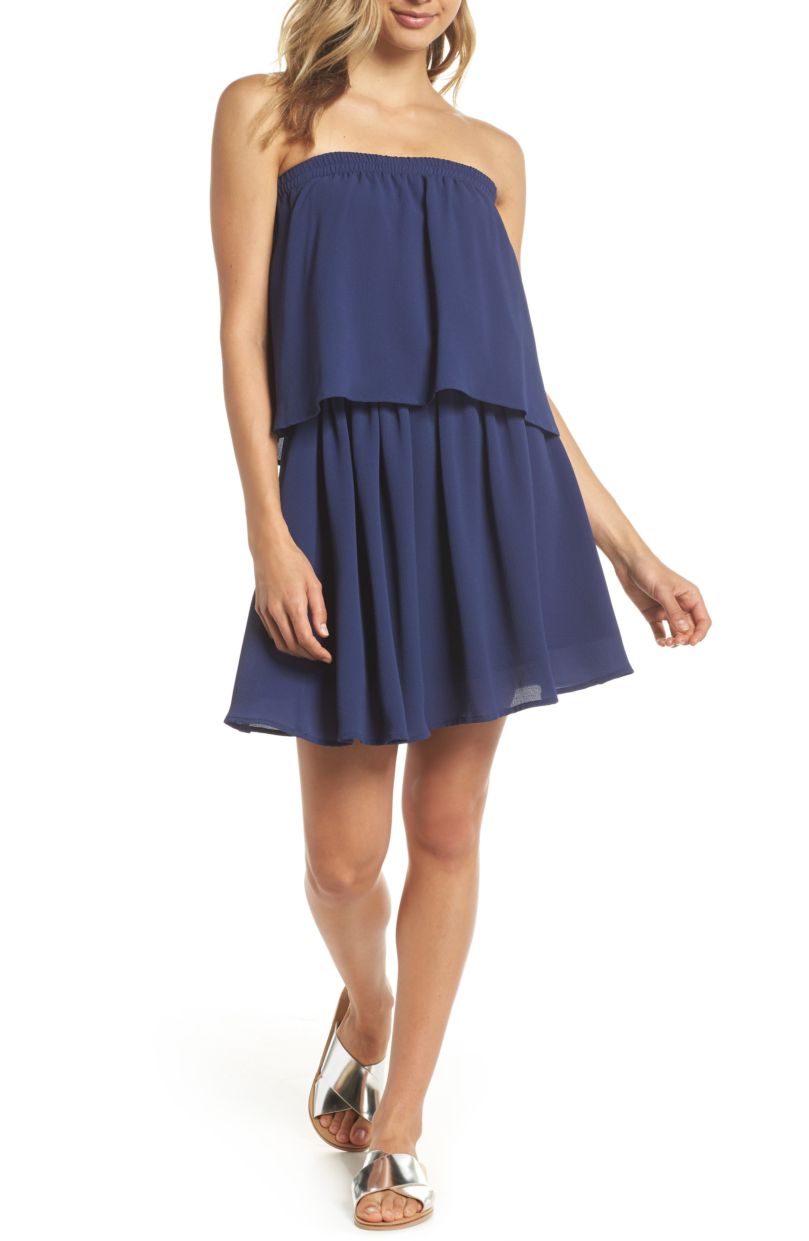 Strapless Popover Shift Dress,                         Main,                         color, Navy