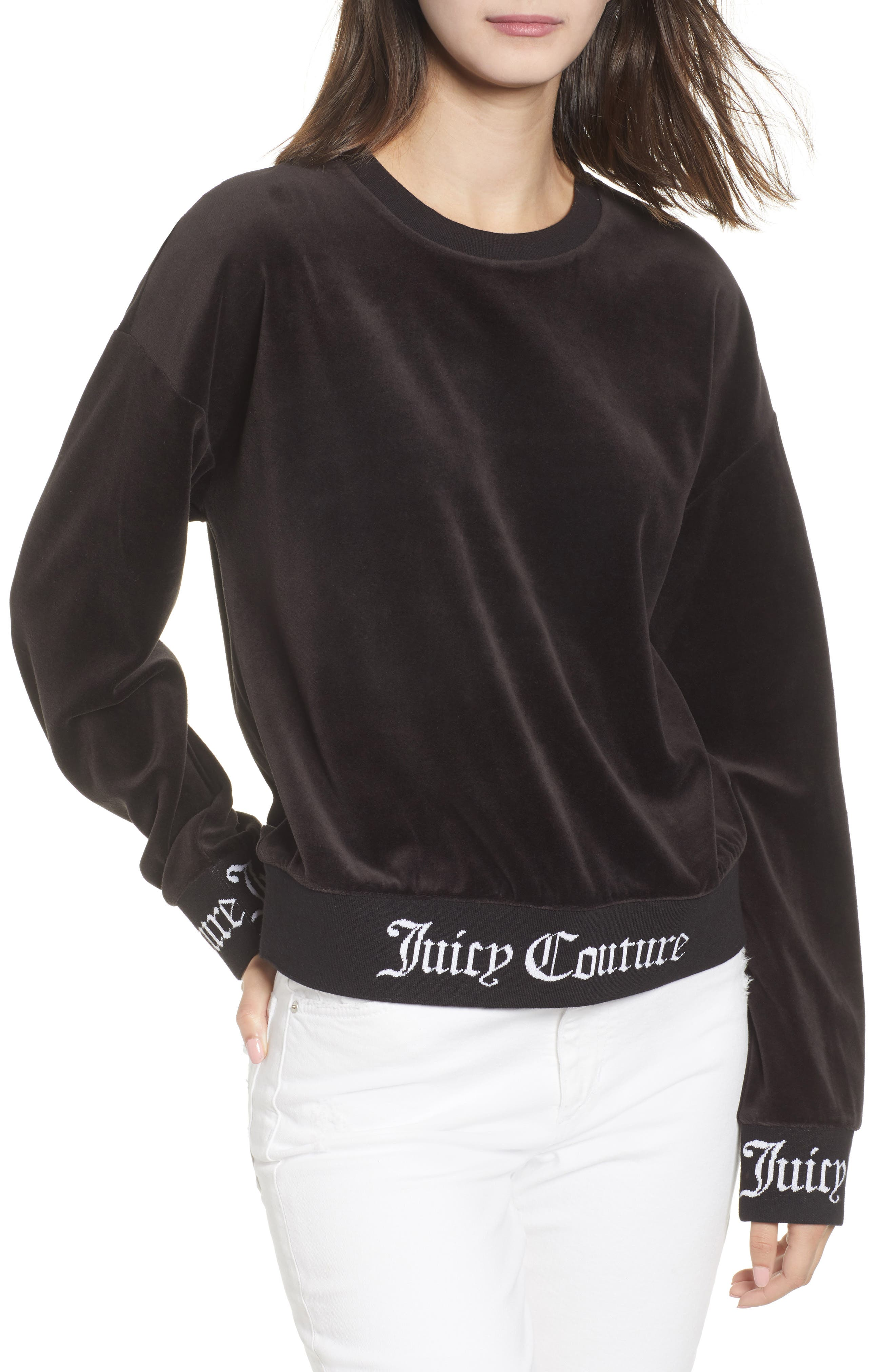 Logo Graphic Velour Pullover,                             Main thumbnail 1, color,                             Pitch Black