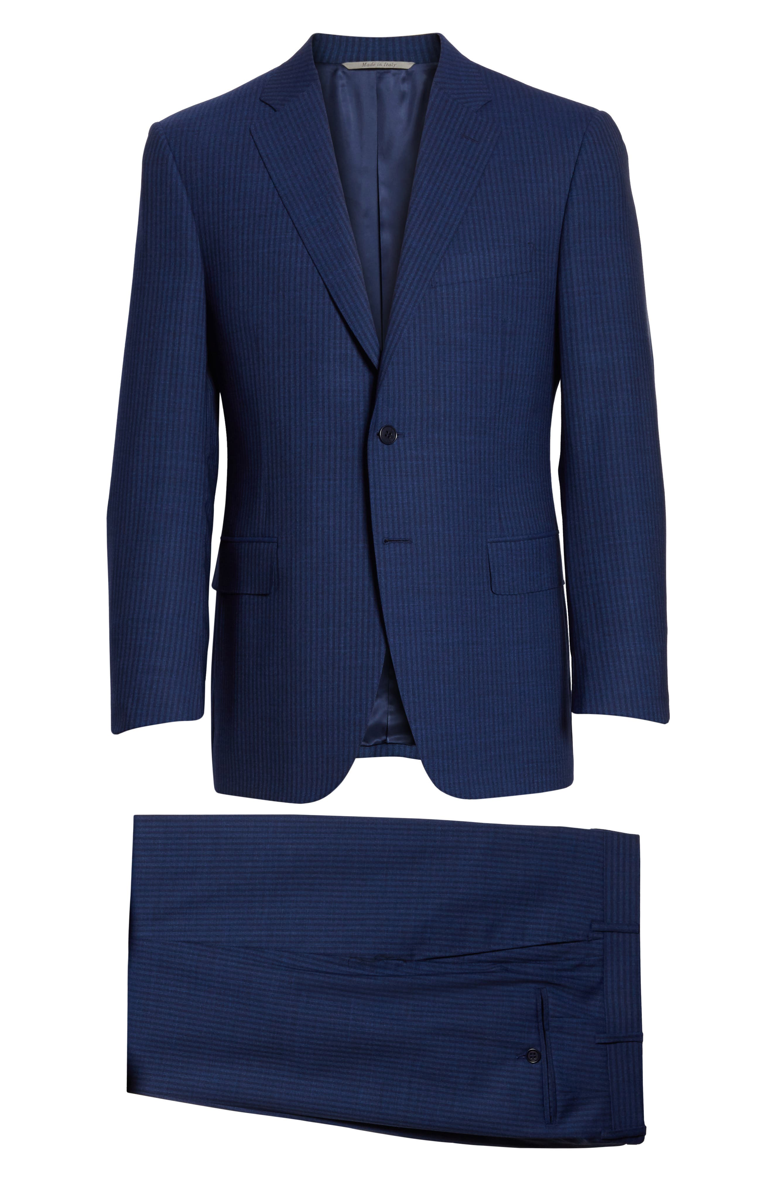 Classic Fit Shadow Stripe Wool Suit,                             Alternate thumbnail 8, color,                             Navy