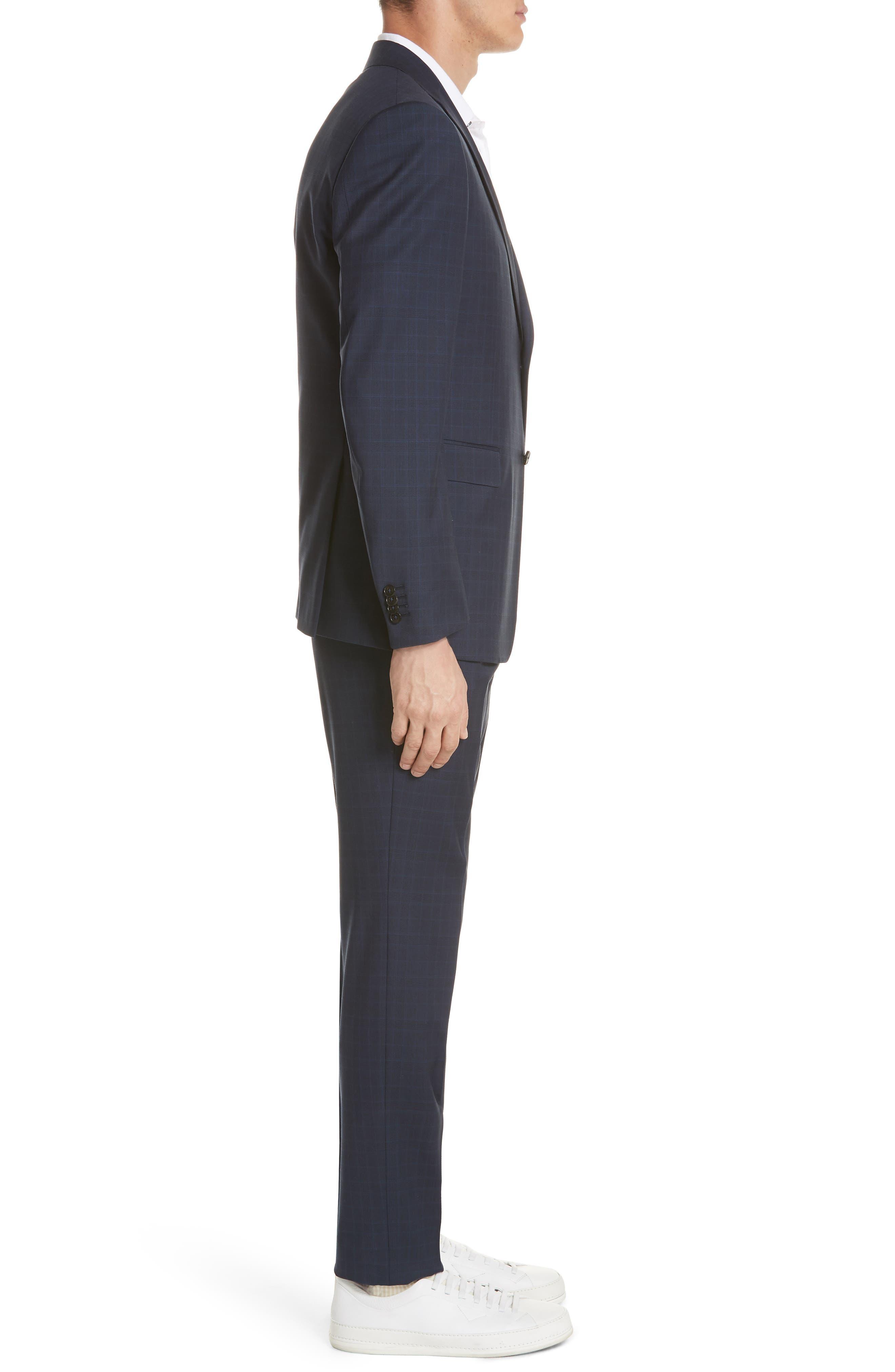 Trim Fit Plaid Wool Suit,                             Alternate thumbnail 3, color,                             Navy Check