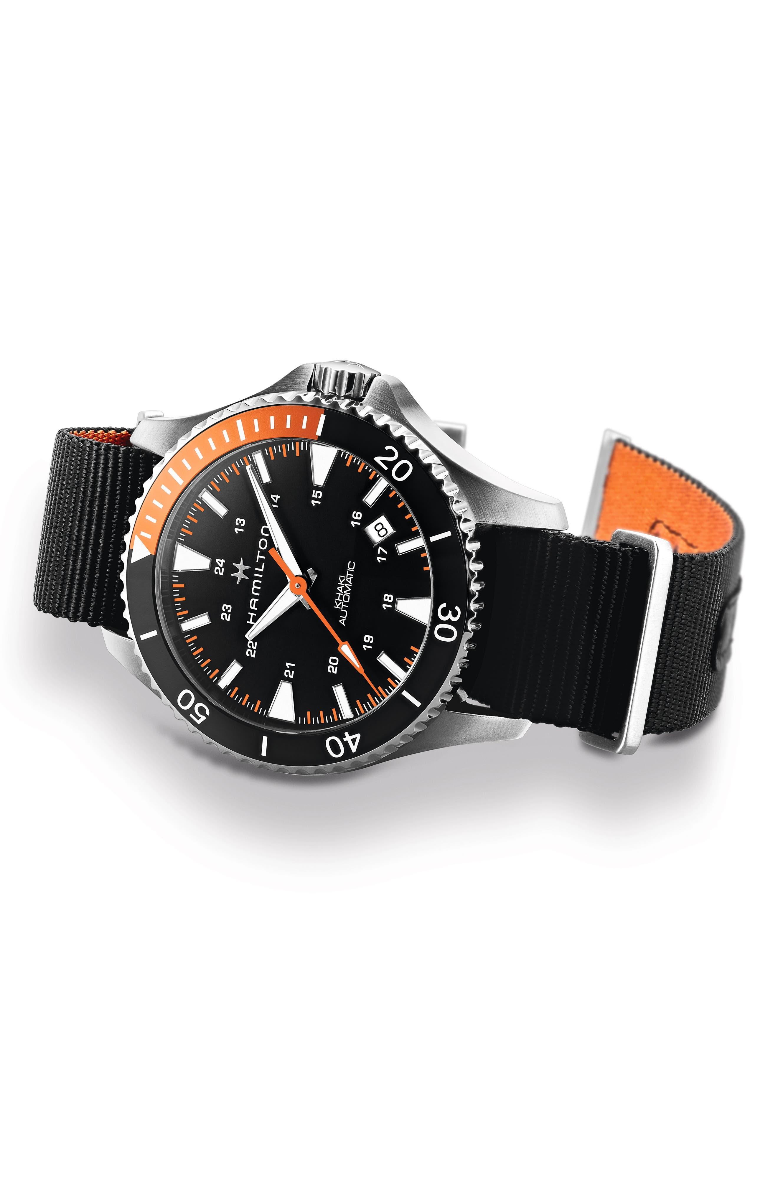 Khaki Navy Scuba Automatic Canvas Strap Watch, 40mm,                             Alternate thumbnail 3, color,                             Black/ Silver