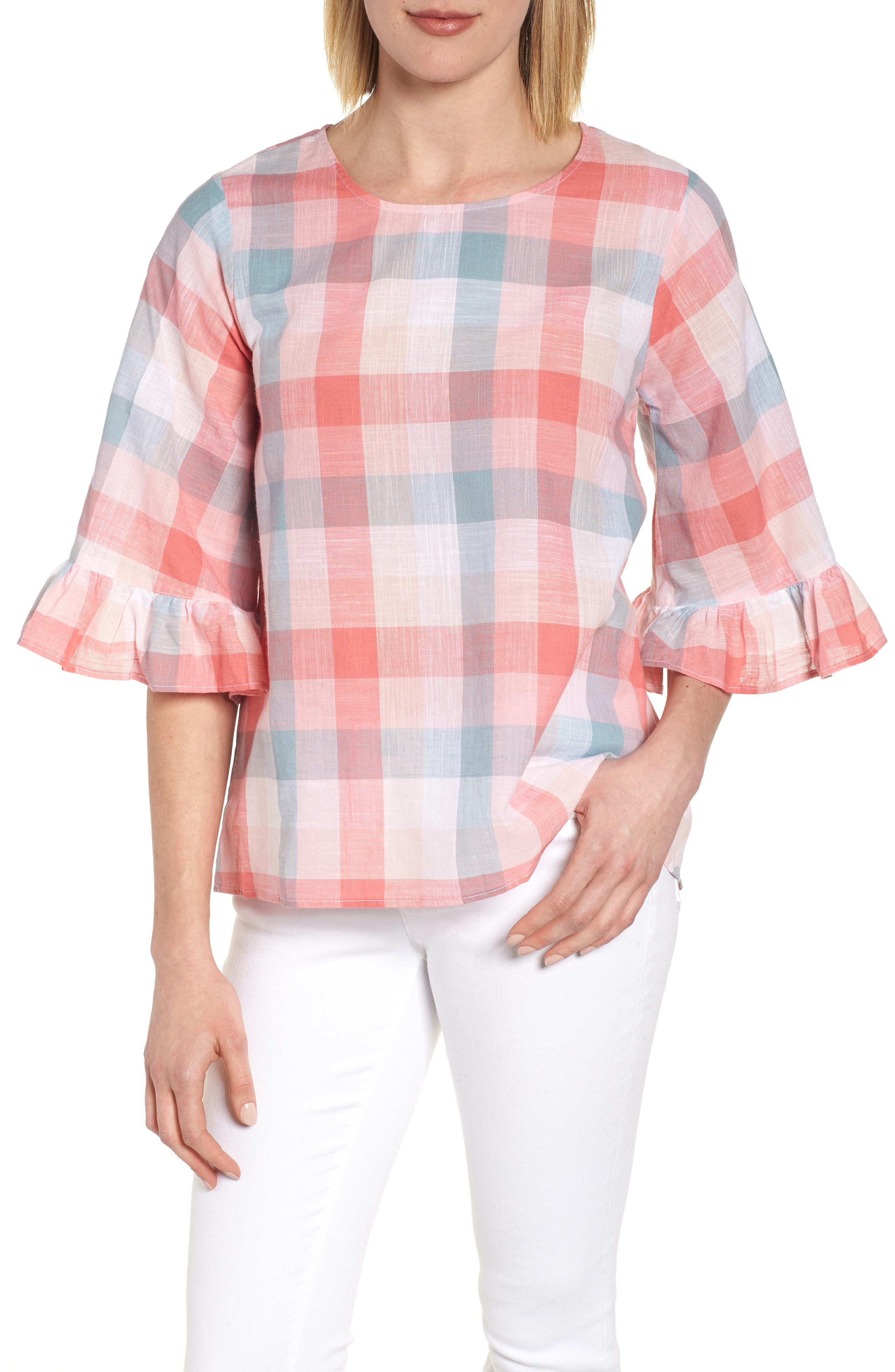 Pastel Plaid Ruffle Sleeve Cotton Top,                             Main thumbnail 1, color,                             Pink Plaid