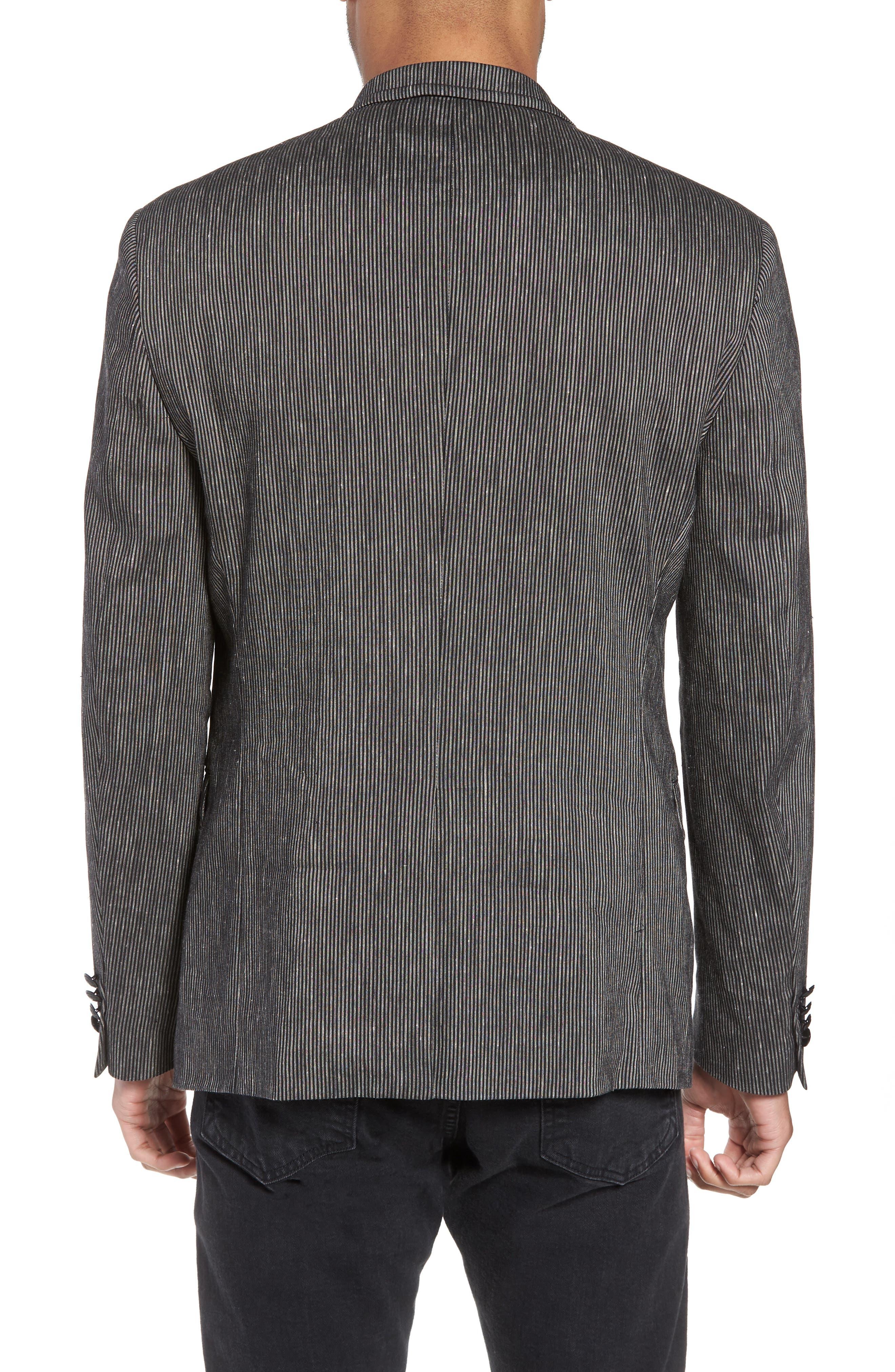 Regular Fit Stretch Stripe Linen Blend Sport Coat,                             Alternate thumbnail 2, color,                             Black/White