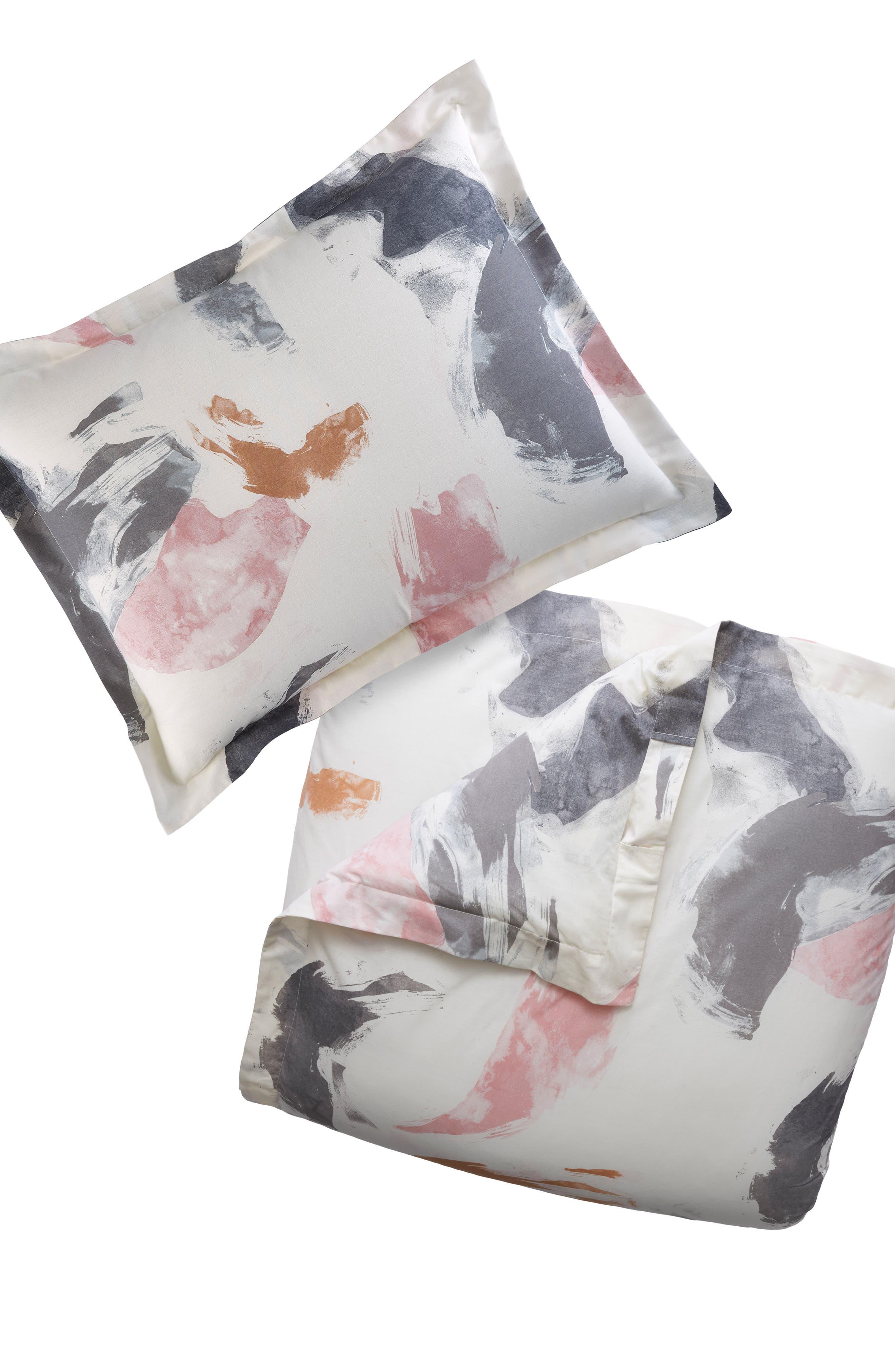 Painted Canvas Duvet Cover & Sham Set,                         Main,                         color, Open White