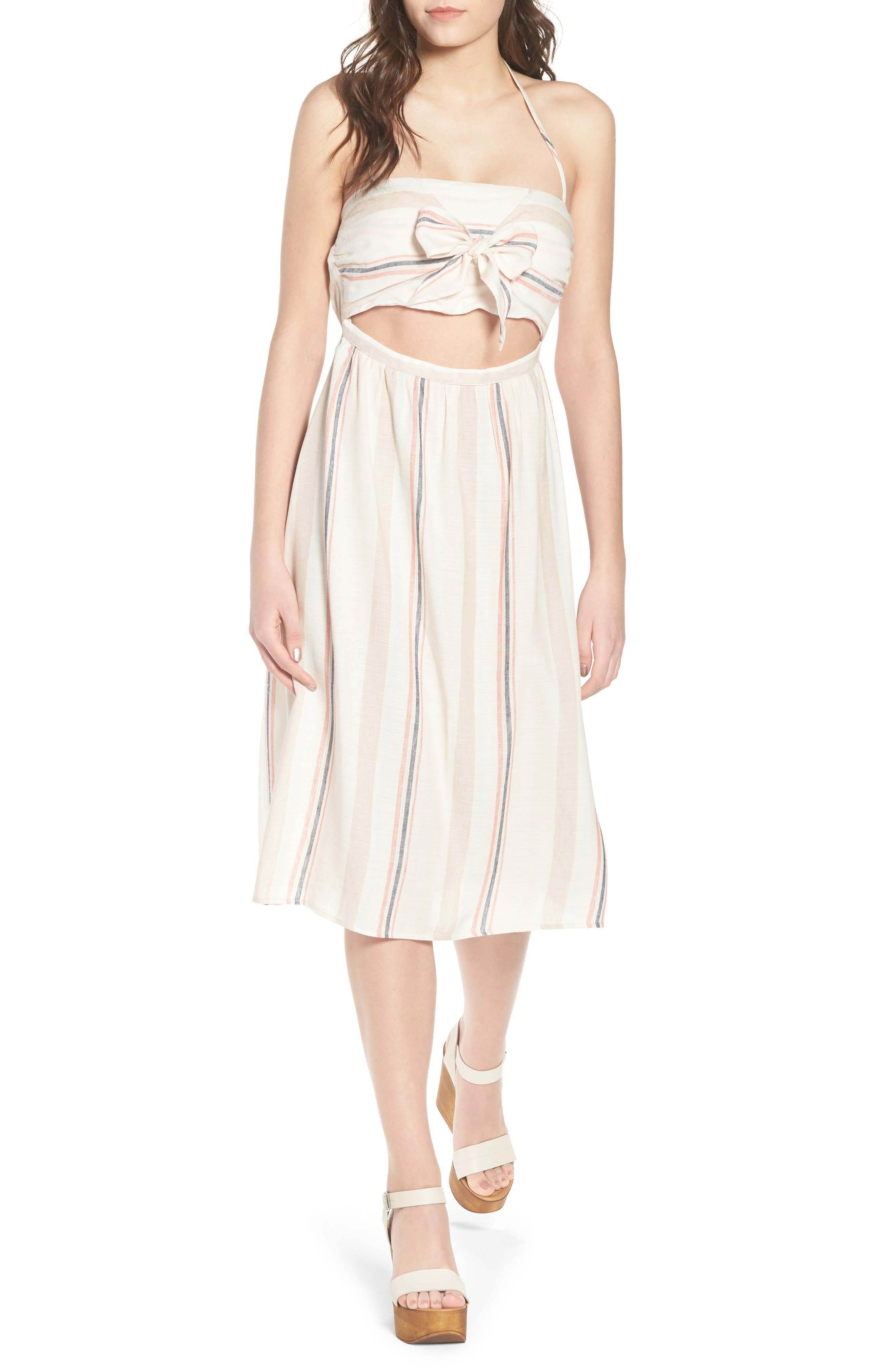 Tie Front Midi Dress,                             Main thumbnail 1, color,                             Ivory Red
