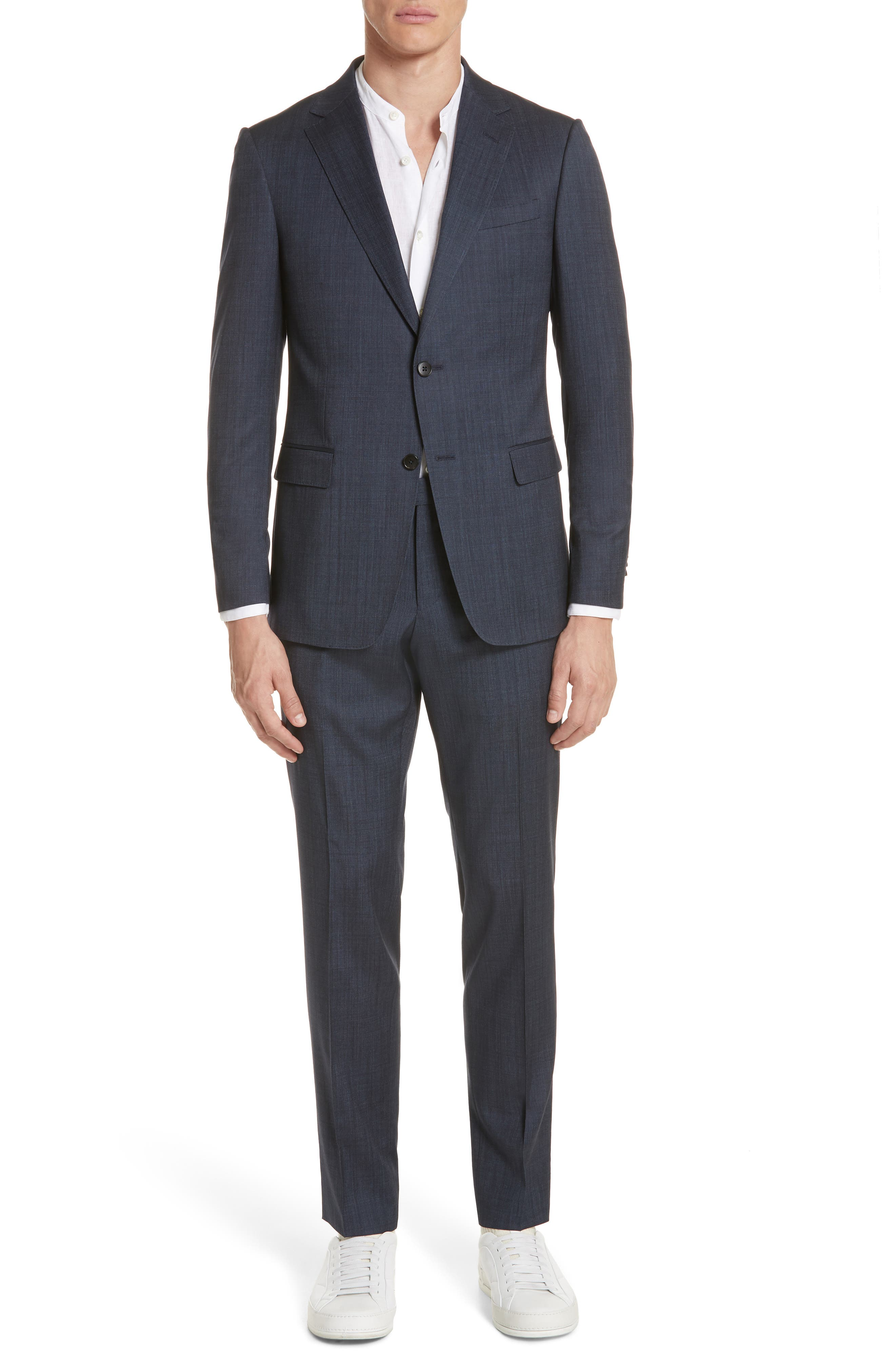 Trim Fit Solid Wool & Silk Suit,                         Main,                         color, Navy