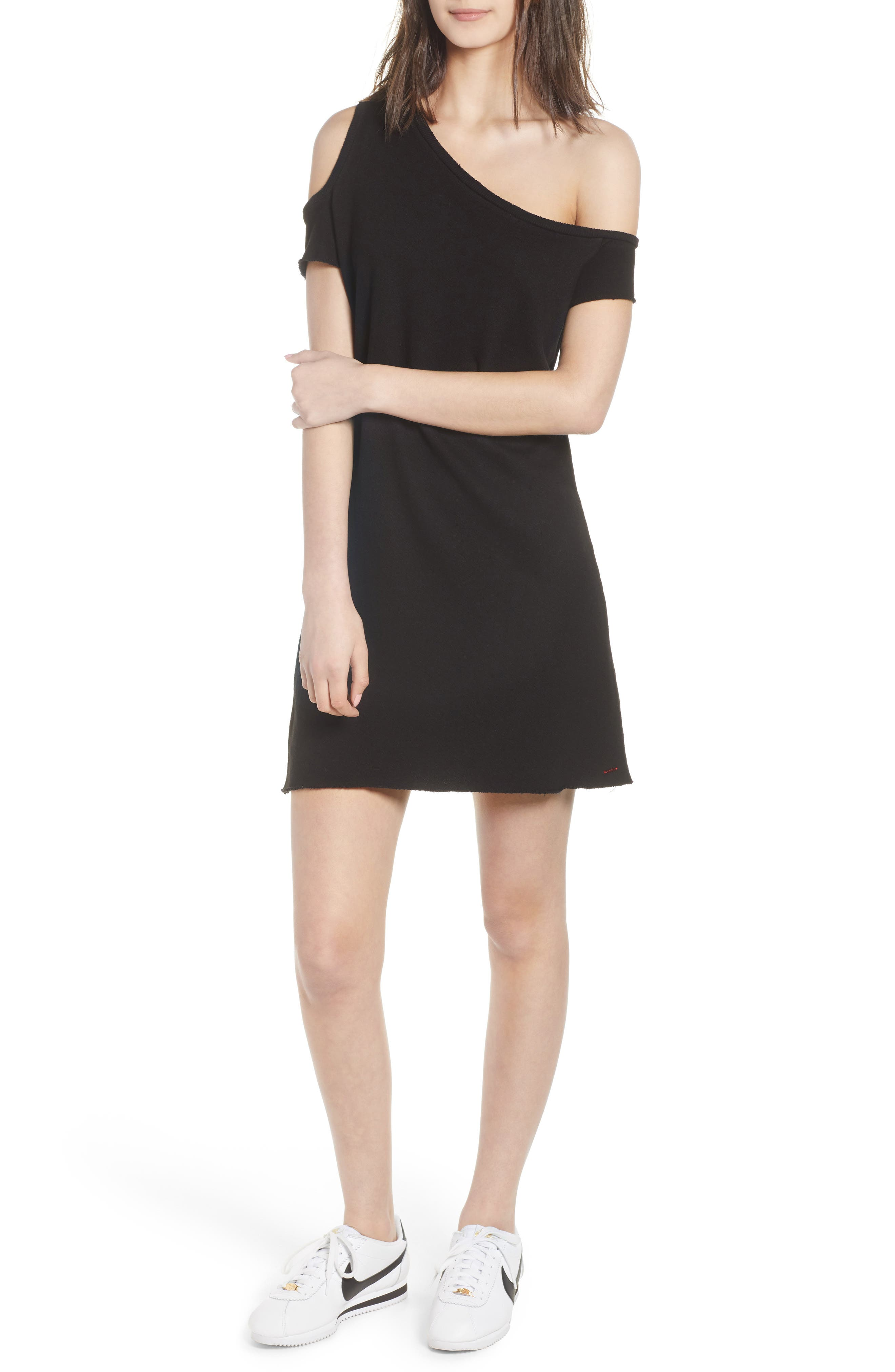Camino One-Shoulder Dress,                             Main thumbnail 1, color,                             Black Cat
