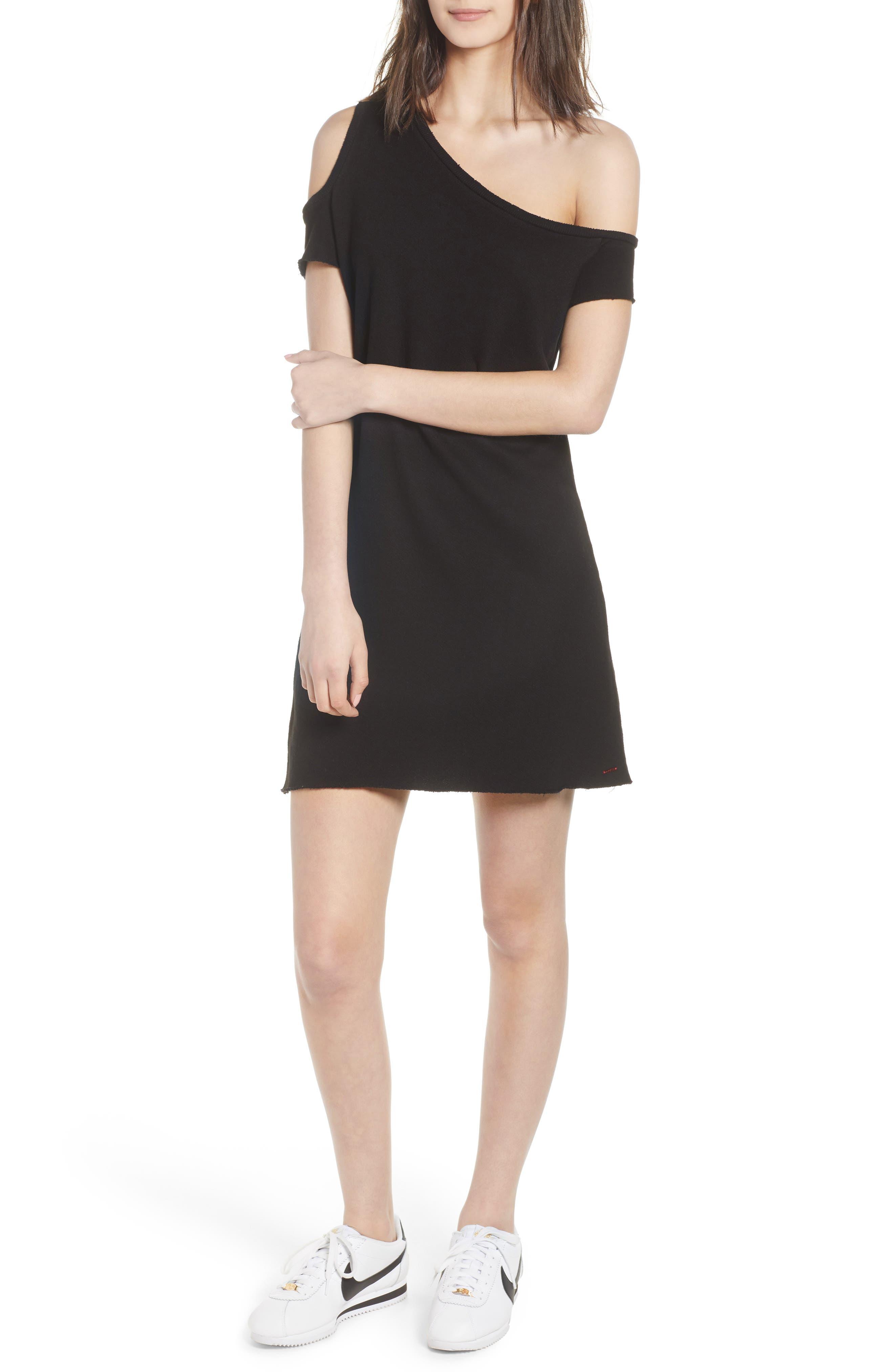 Camino One-Shoulder Dress,                         Main,                         color, Black Cat