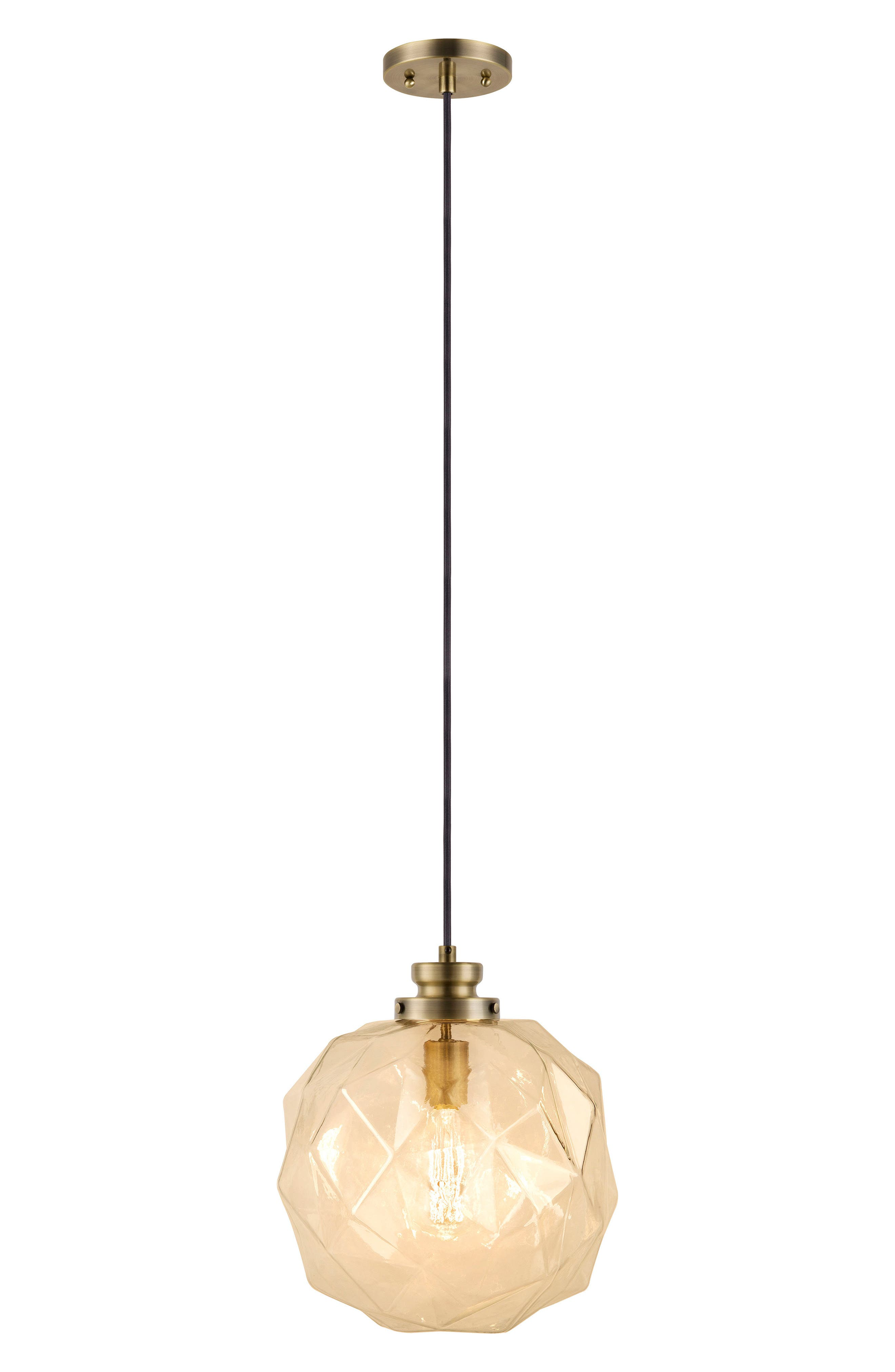 JAlexander Rockford Faceted Pendant Light,                         Main,                         color, Gold
