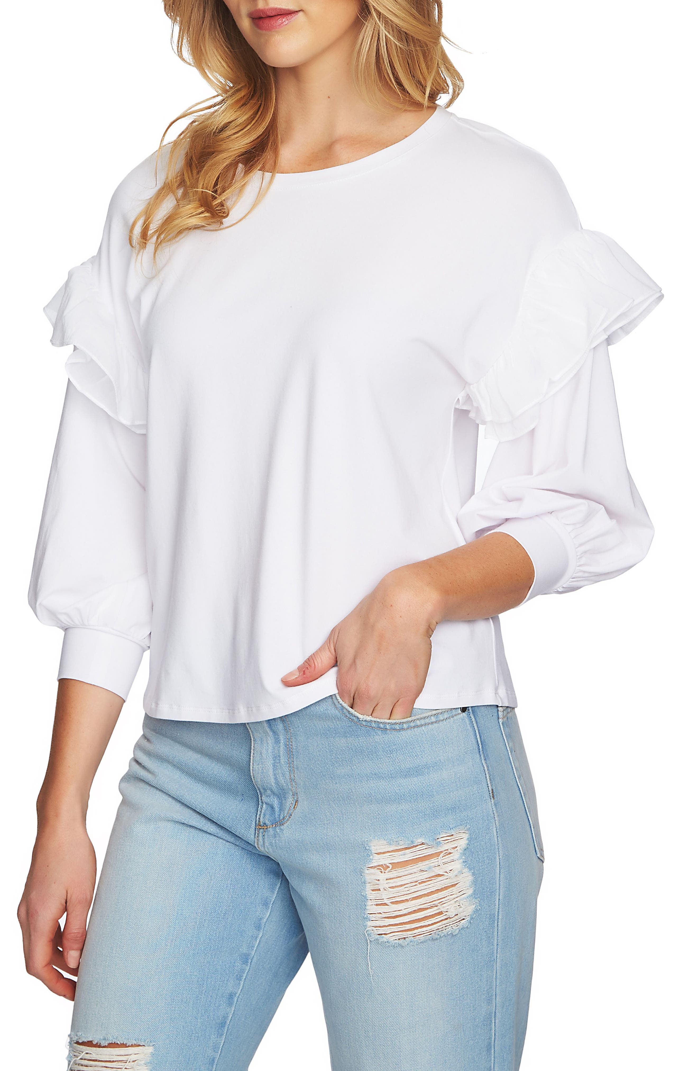 Ruffle Pullover,                             Alternate thumbnail 3, color,                             Ultra White