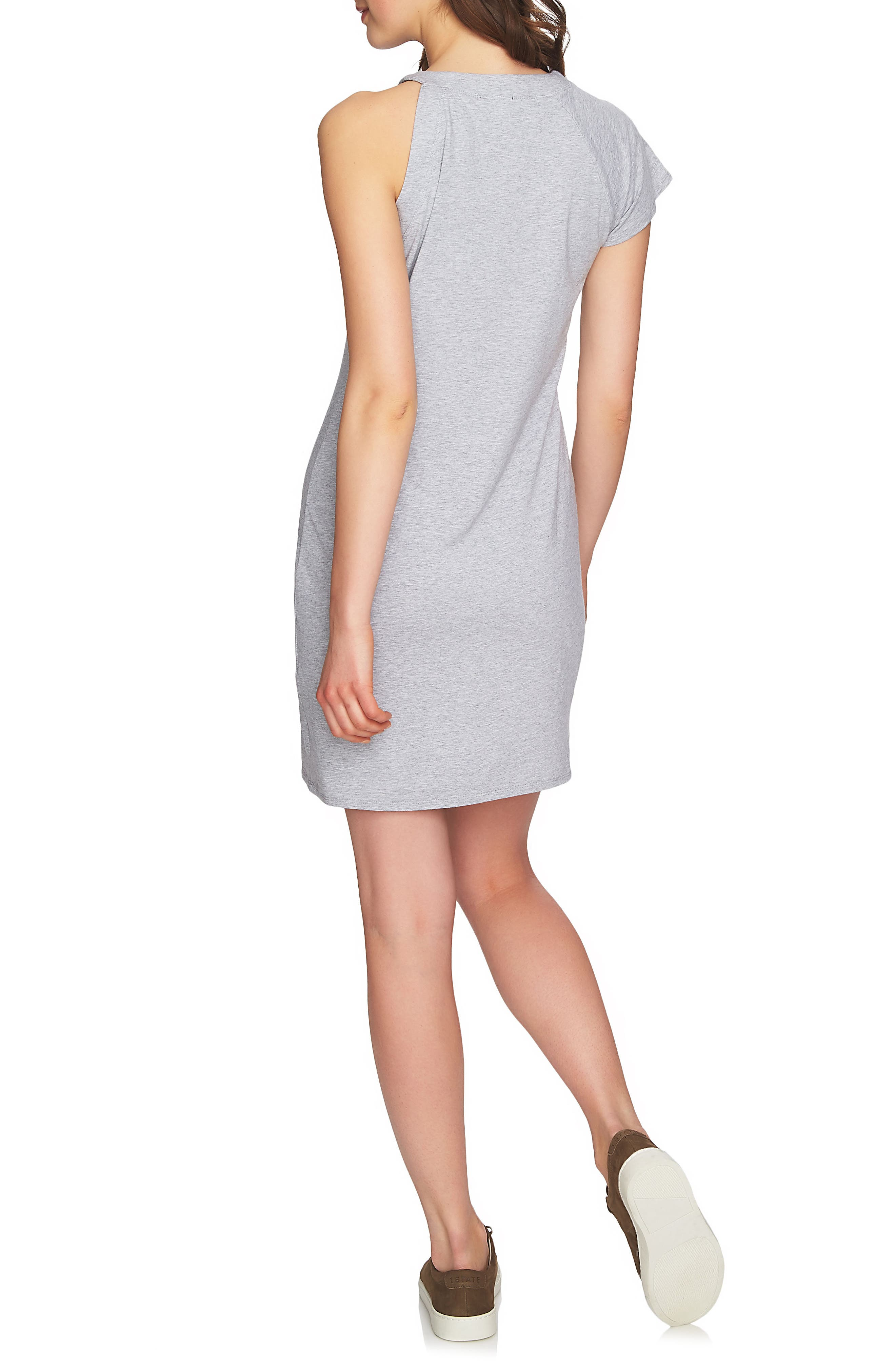 One-Sleeve Body-Con Dress,                             Alternate thumbnail 2, color,                             Light Heather Grey