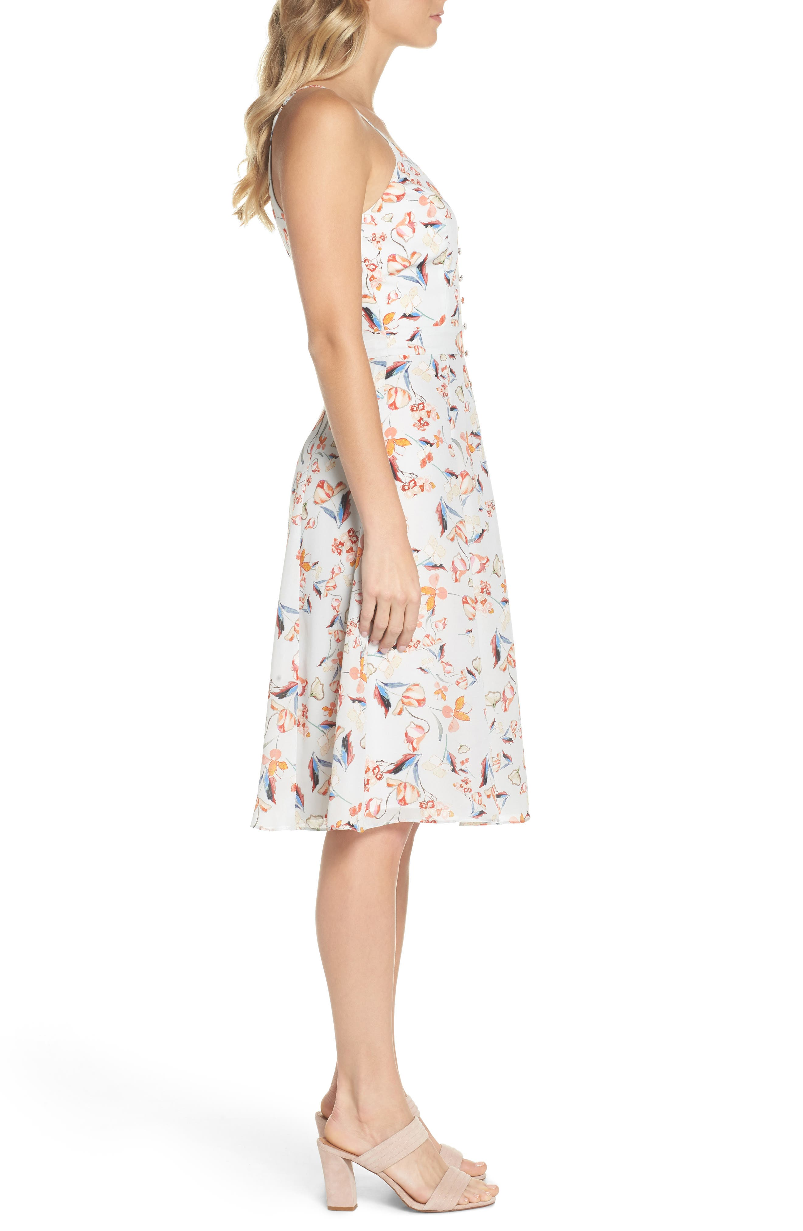 Tiffany Floral Fit & Flare Dress,                             Alternate thumbnail 3, color,                             Crystal Blue Multi