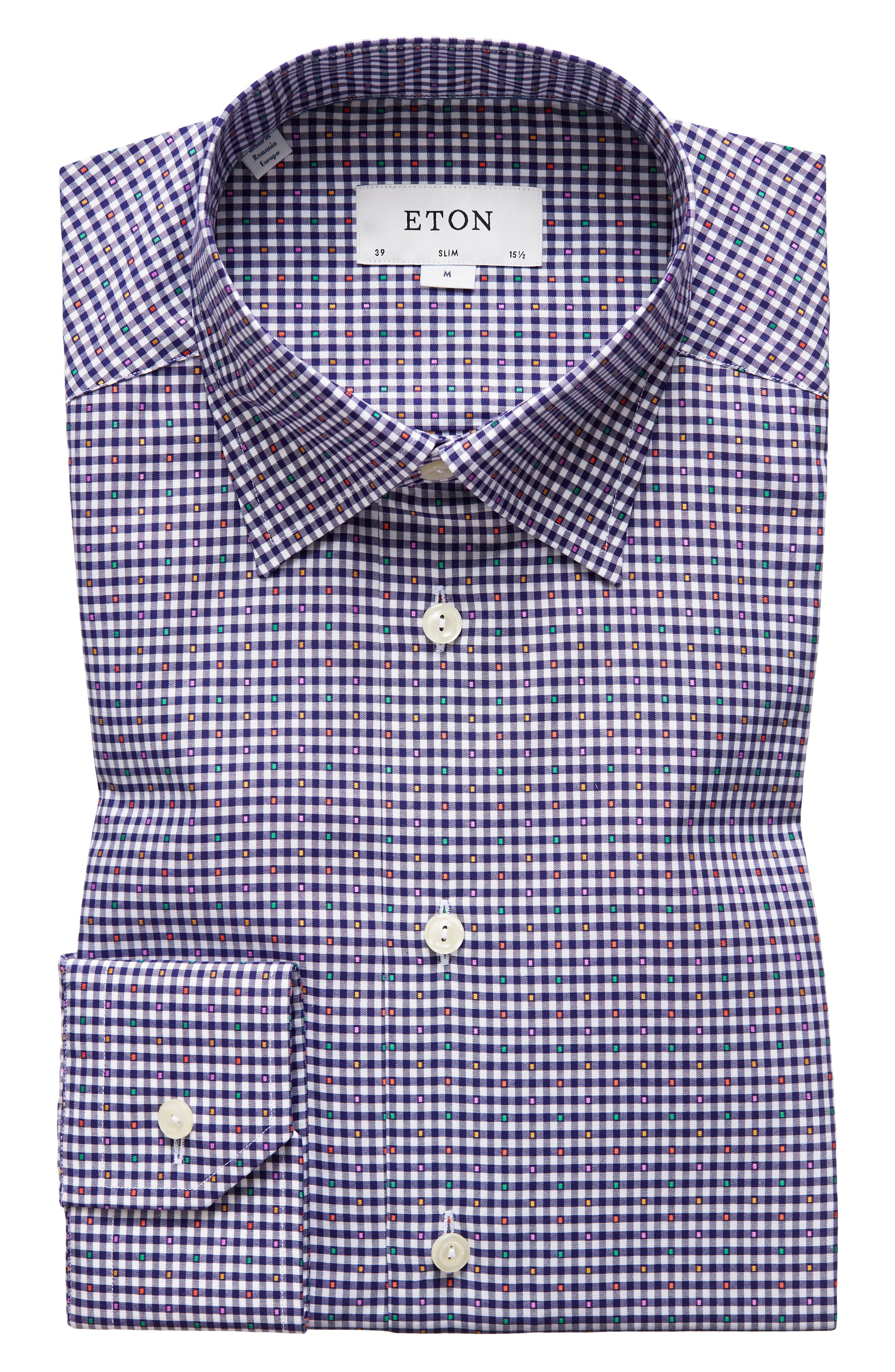 Slim Fit Check Dress Shirt,                             Alternate thumbnail 7, color,                             Blue