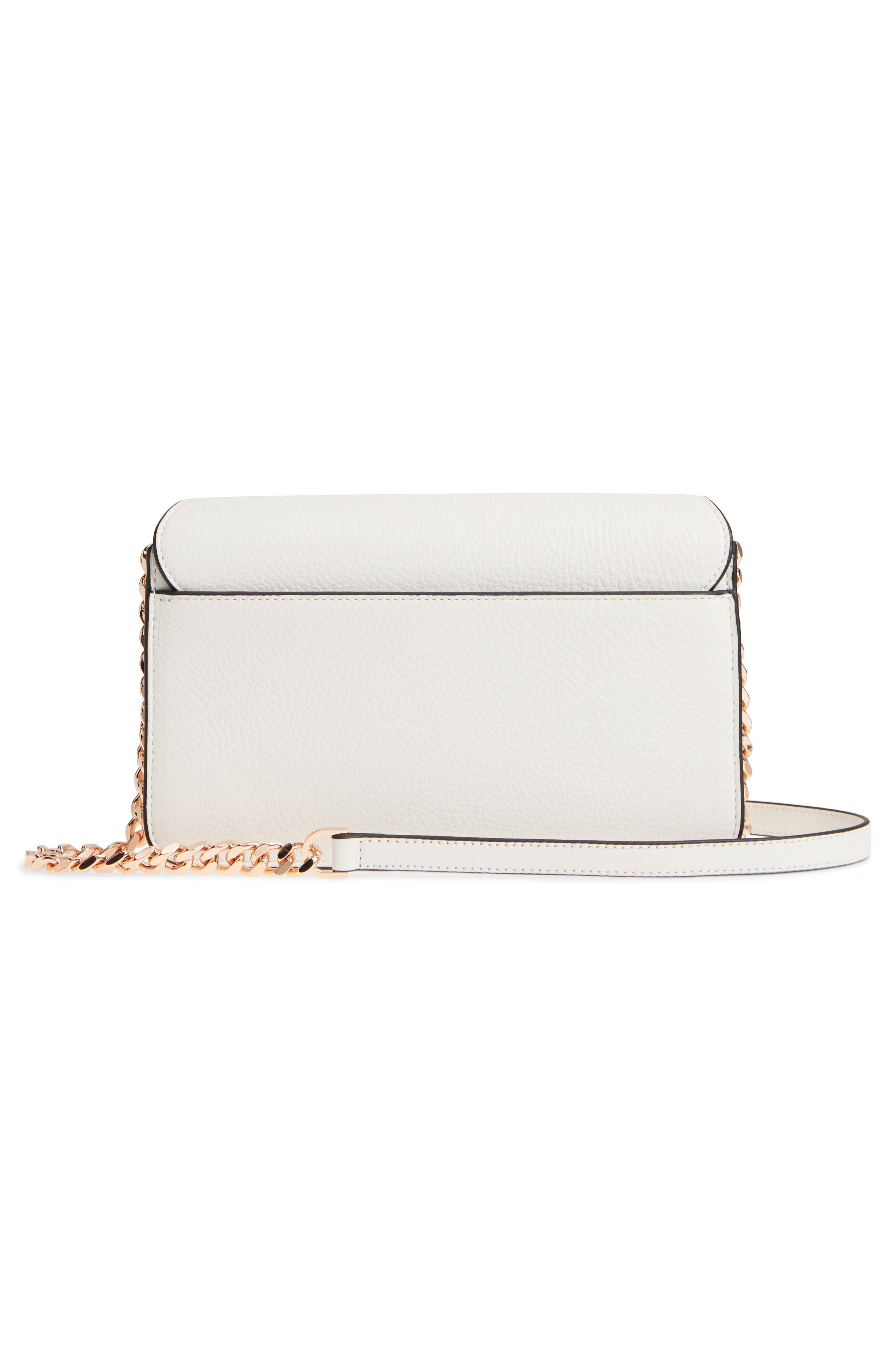 Cortney Nappa Leather Shoulder/Crossbody Bag,                             Alternate thumbnail 3, color,                             White/ Rose Gold
