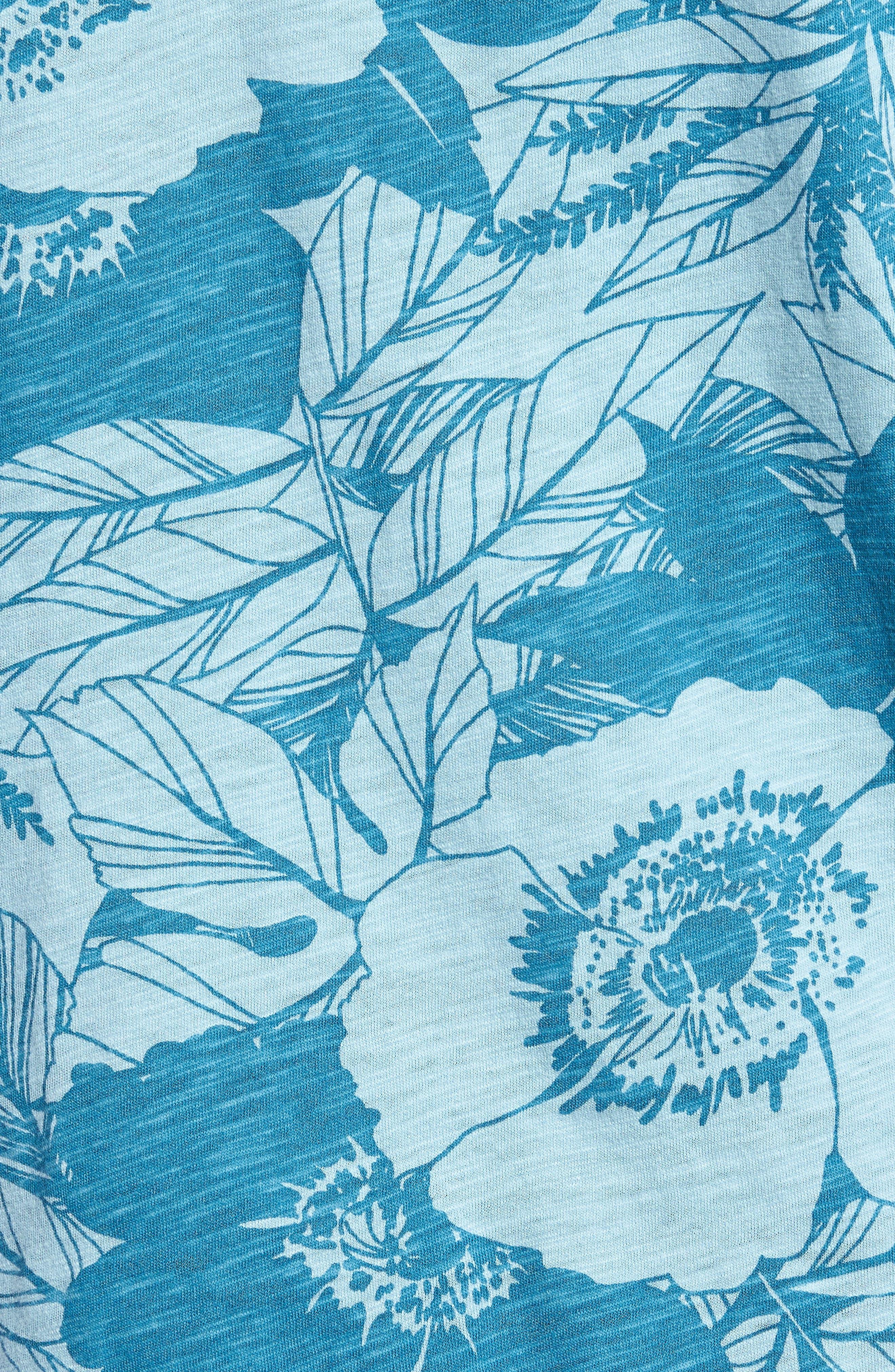 Floral Print Henley,                             Alternate thumbnail 5, color,                             Linear Floral
