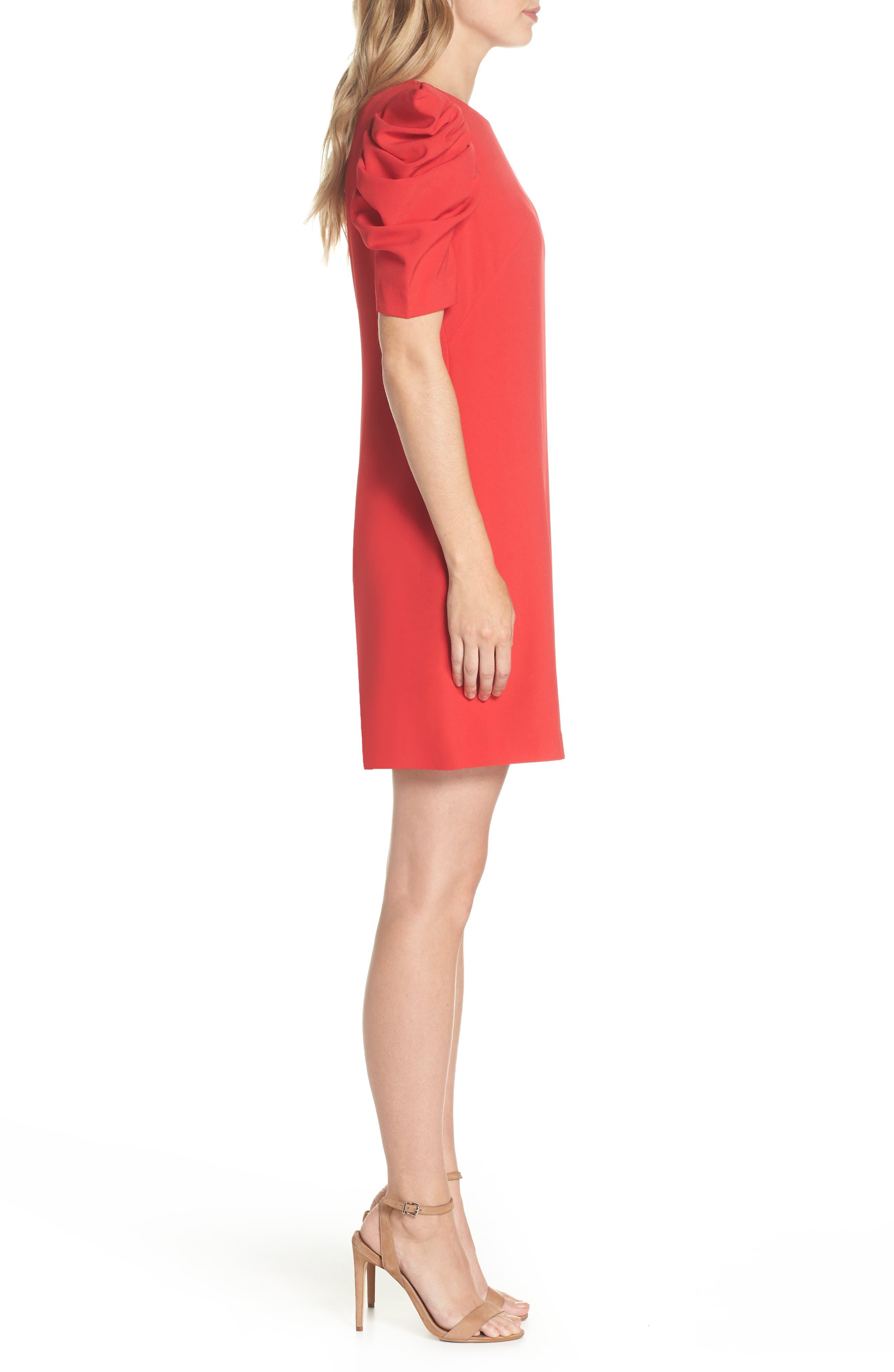 Puff Sleeve Shift Dress,                             Alternate thumbnail 3, color,                             Red Festive