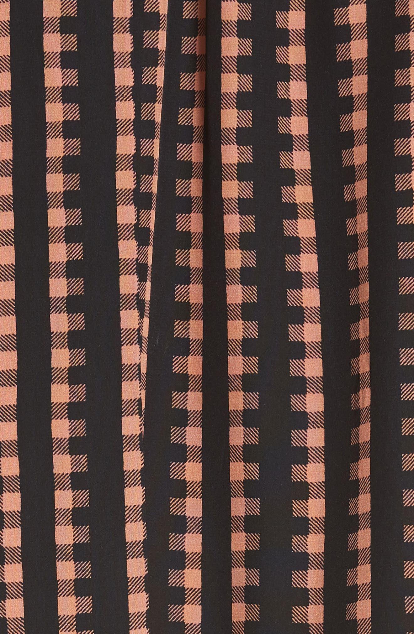 Gingham Stripe Silk Dress,                             Alternate thumbnail 5, color,                             Black