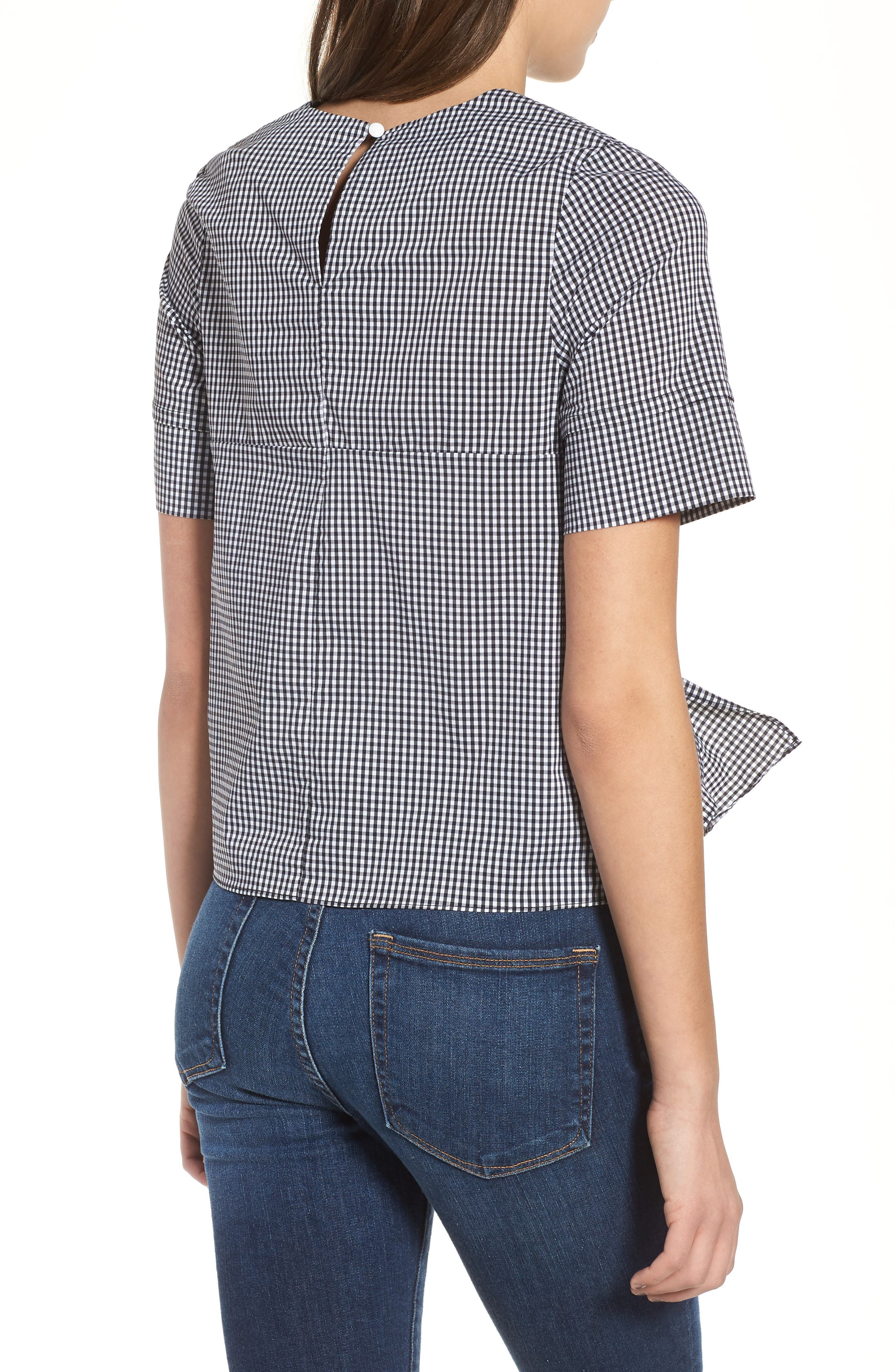 Bishop + Young Gingham Tie Front Blouse,                             Alternate thumbnail 2, color,                             Gingham