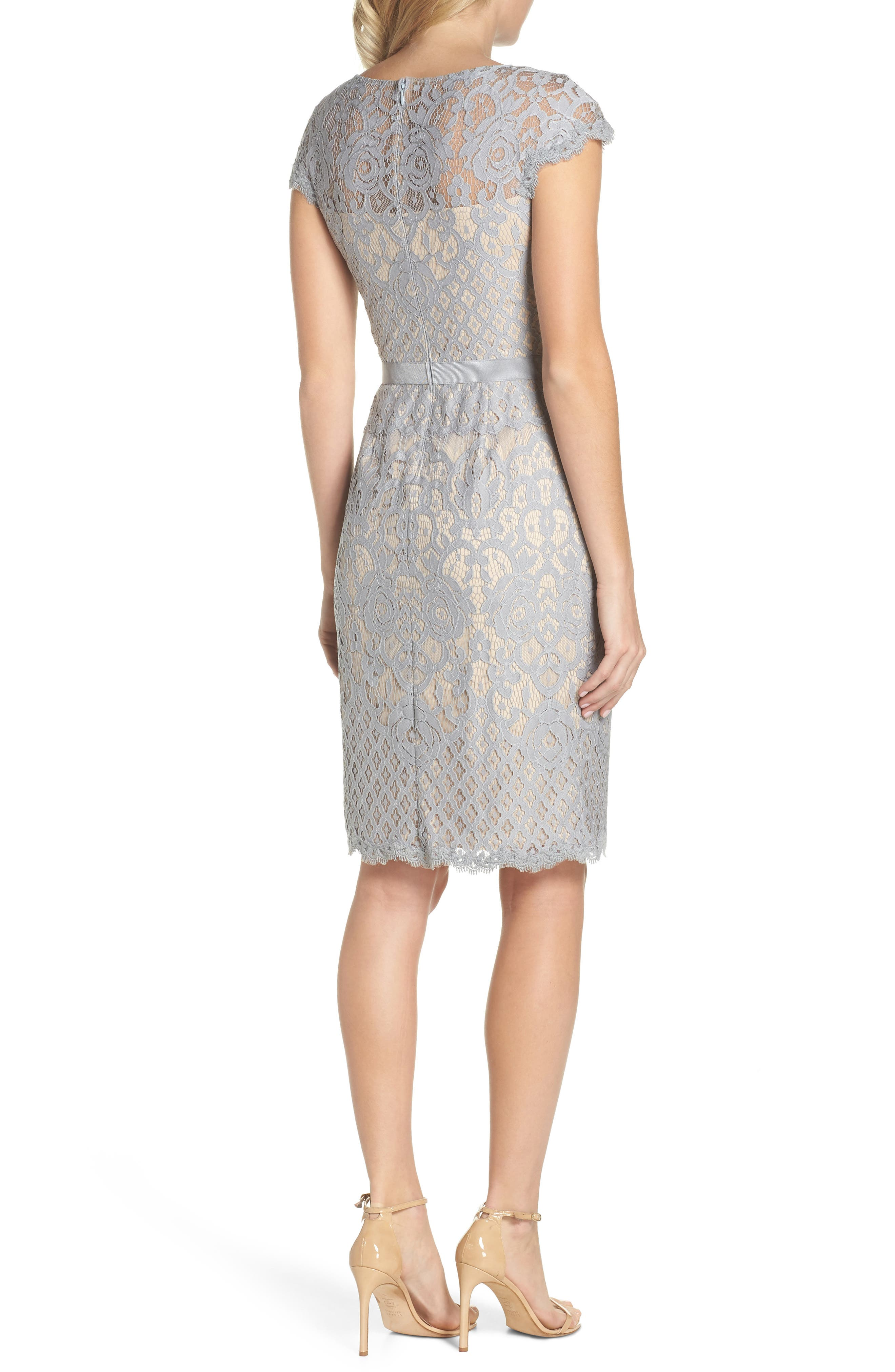 Lace Sheath Dress,                             Alternate thumbnail 2, color,                             Pewter/ Petal