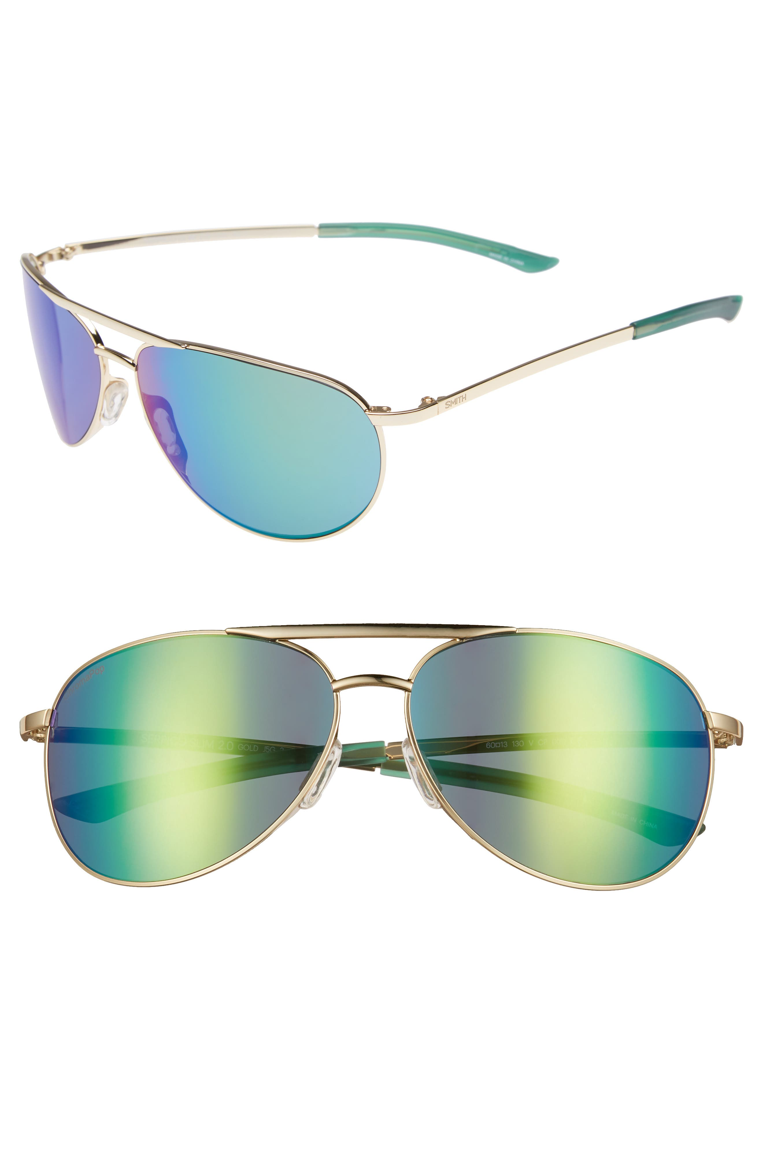 Serpico Slim 2.0 60mm ChromaPop Polarized Aviator Sunglasses,                             Main thumbnail 1, color,                             Gold/ Green Mirror