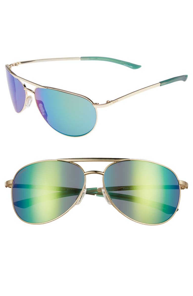 2e0937ae8b SMITH SERPICO SLIM 2.0 60MM CHROMAPOP POLARIZED AVIATOR SUNGLASSES - GOLD   GREEN MIRROR